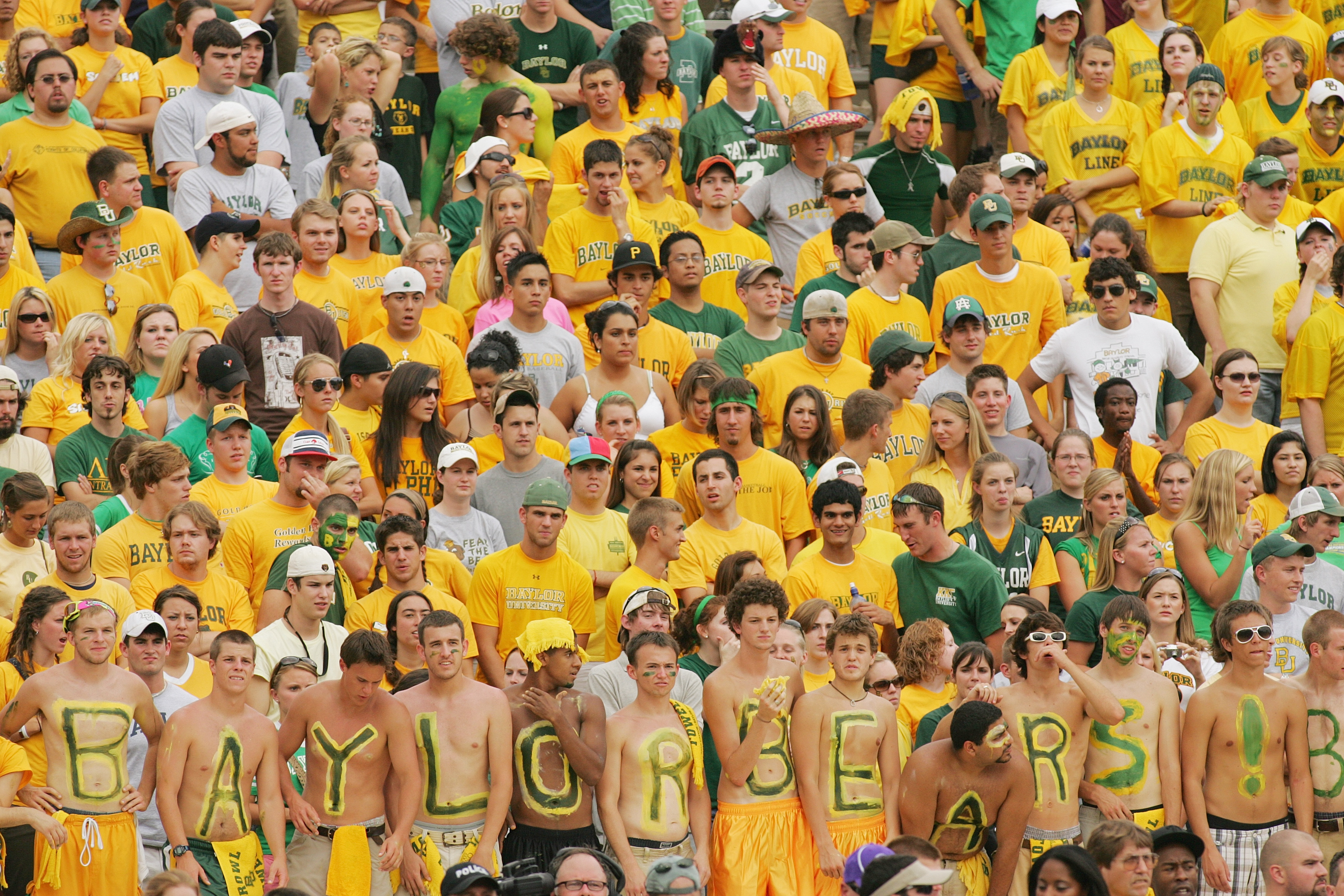 WACO, TX - SEPTEMBER 3:  Baylor Bears fans watch the game against the TCU Horned Frogs on September 3, 2006 at Floyd Casey Stadium in Waco, Texas. TCU defeated Baylor 17-7.  (Photo by Ronald Martinez/Getty Images)