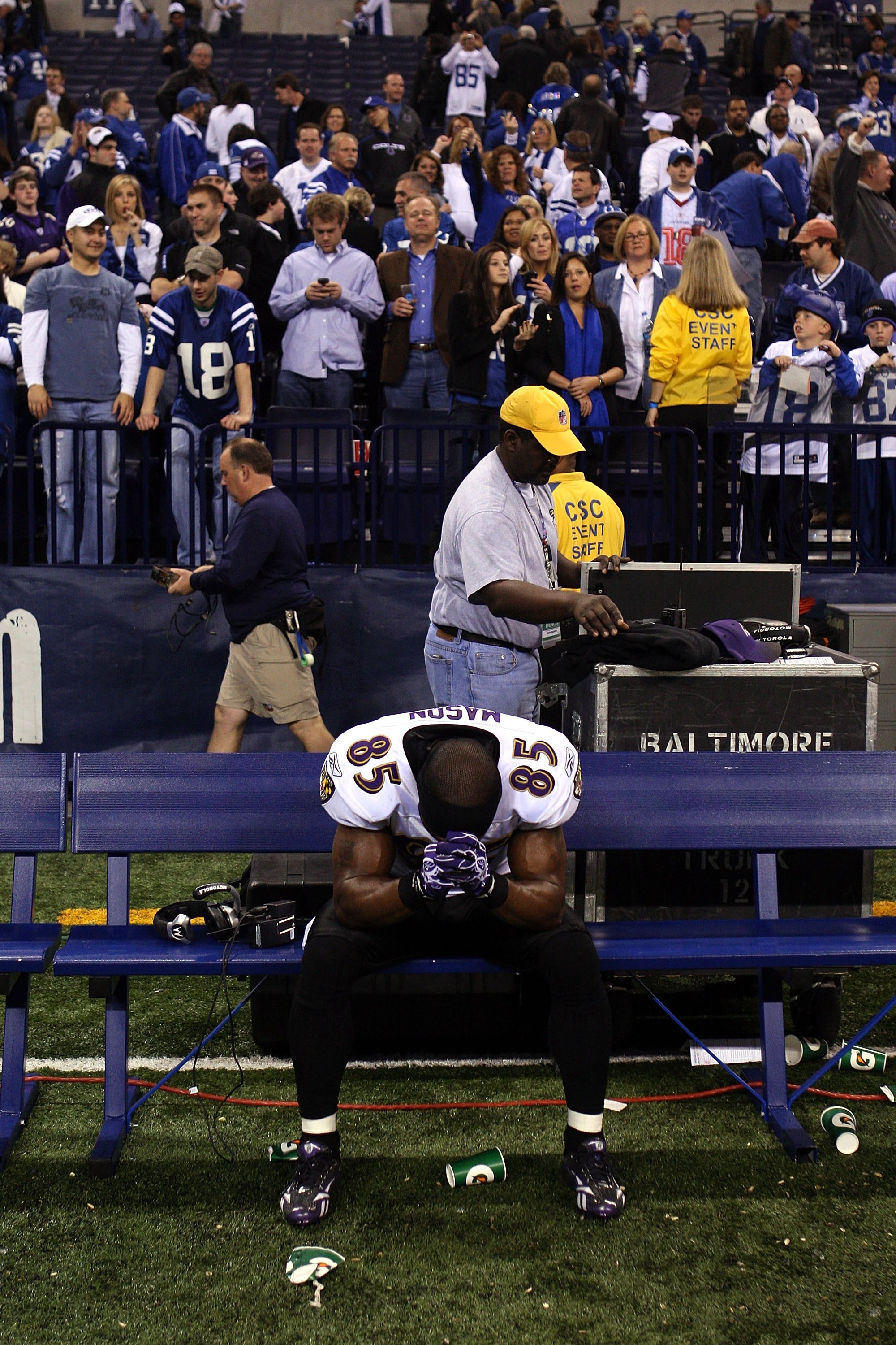 INDIANAPOLIS - JANUARY 16:  Derrick Mason #85 of the Baltimore Ravens sits on the bench after losing to the Indianapolis Colts 20-3 in the AFC Divisional Playoff Game at Lucas Oli Stadium on January 16, 2010 in Indianapolis, Indiana.  (Photo by Jonathan D