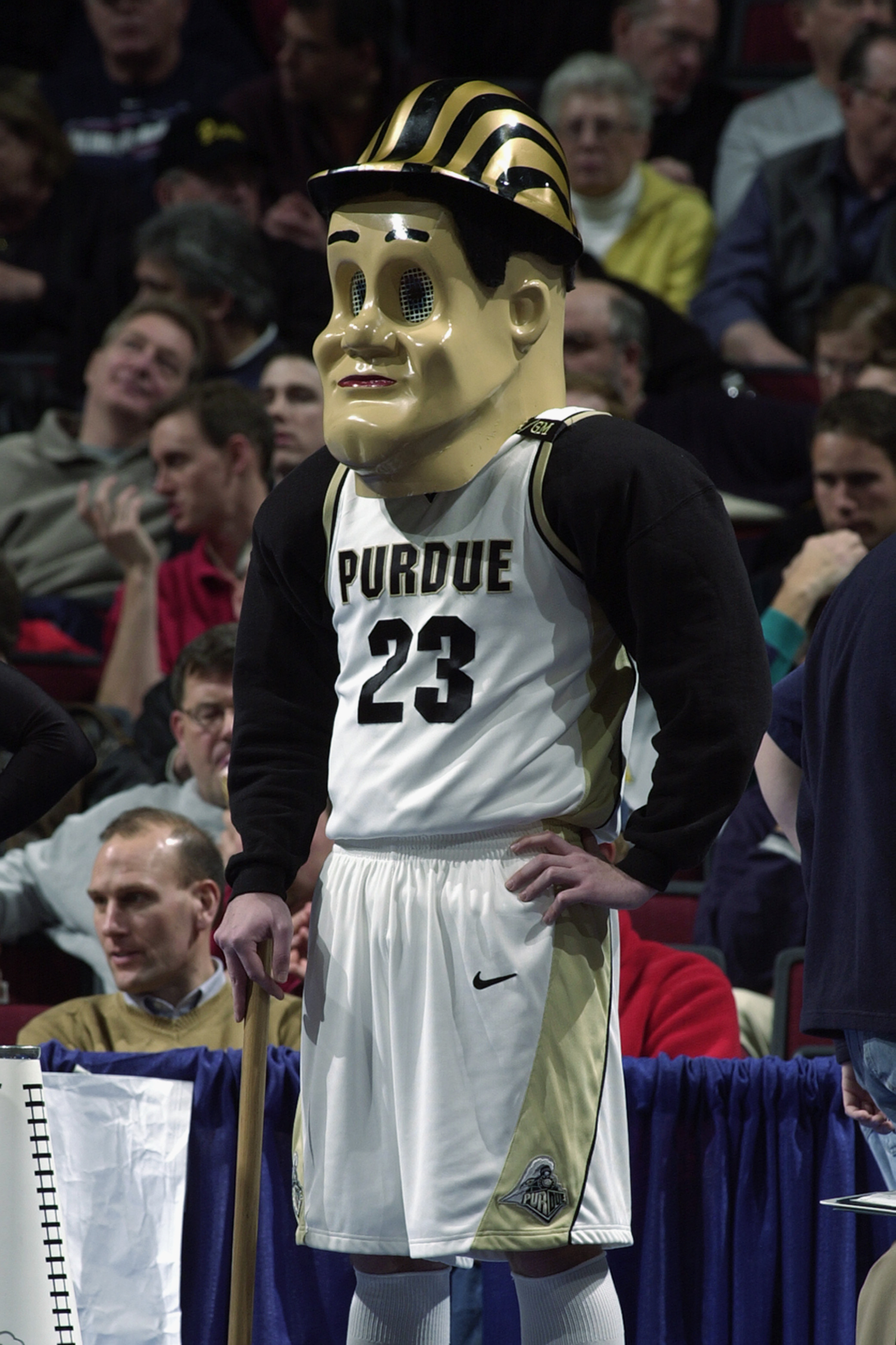 CHICAGO - MARCH 13:  The mascot for Purdue University entertains fans during the Big Ten Men's Basketball Tournament game between the Michigan State University Spartans and the Purdue University Boilermakers at the United Center on March 14, 2003 in Chica