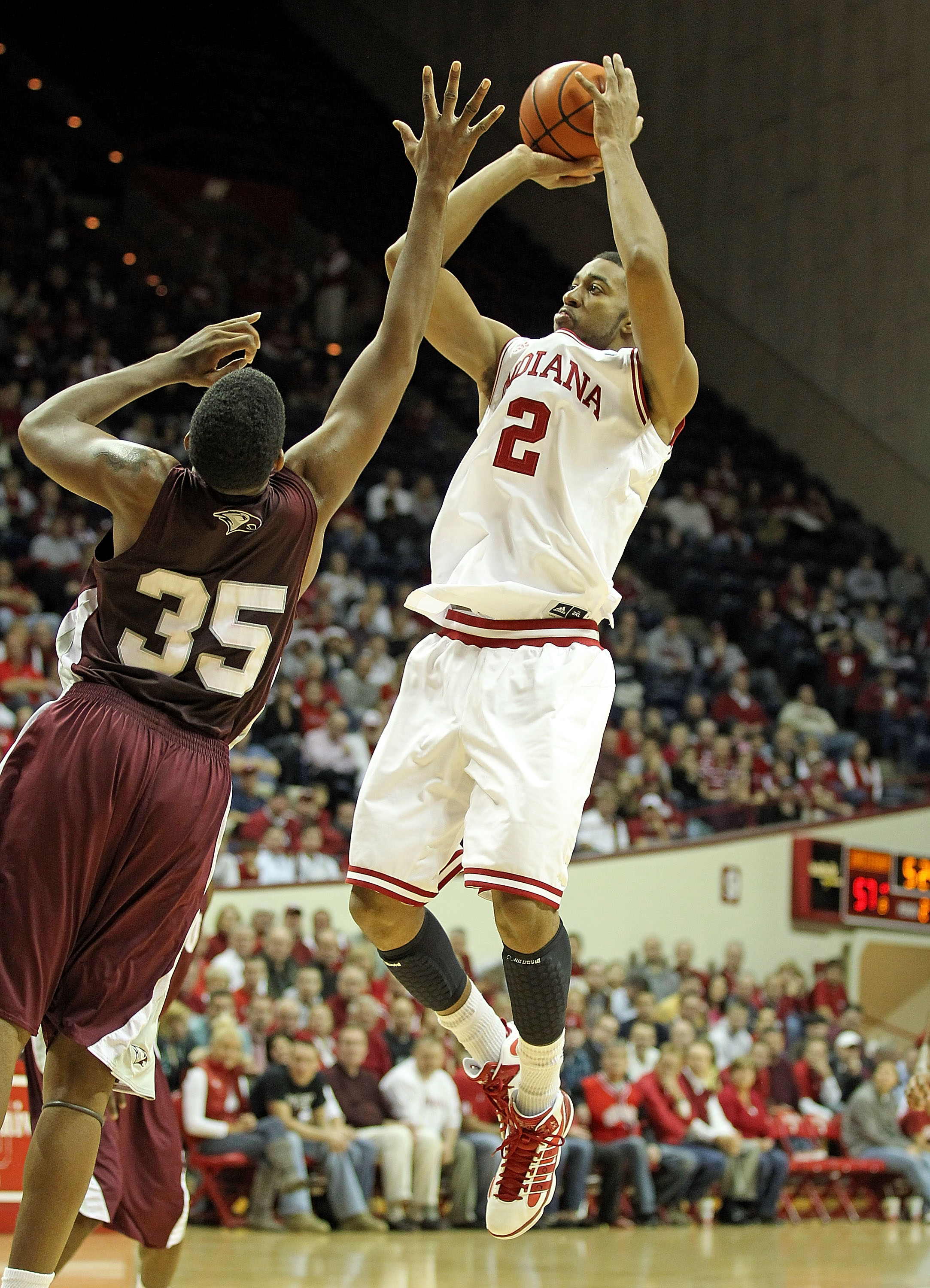 BLOOMINGTON, IN - NOVEMBER 23:  Christian Watford #2 of the Indiana Hoosiers shoots the ball during the game against the North Carolina Central Eagles at Assembly Hall on November 23, 2010 in Bloomington, Indiana.  Indiana won 72-56.(Photo by Andy Lyons/G