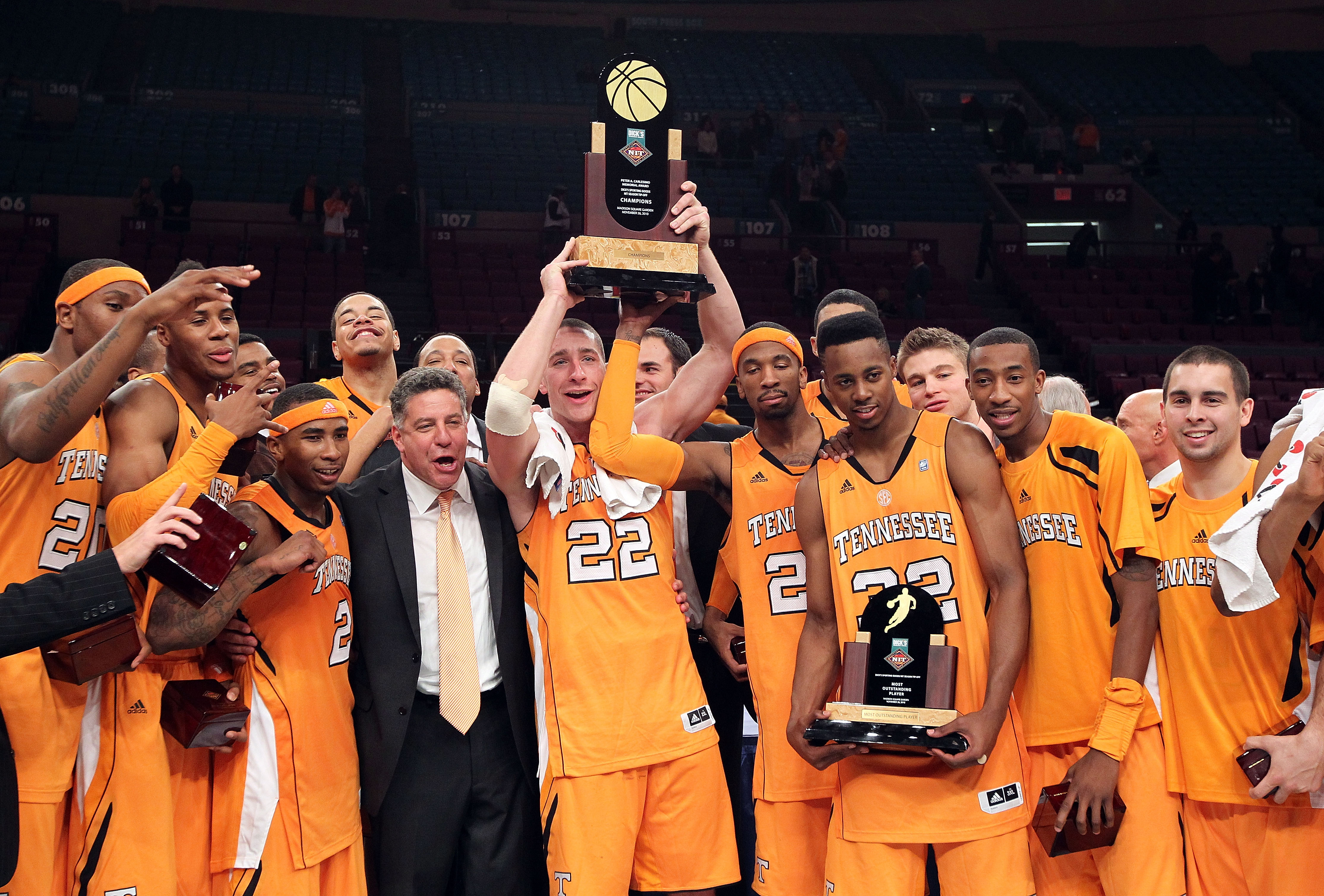 NEW YORK - NOVEMBER 26: The Tennessee Volunteers  celebrate defeating the Villanova Wildcats  during the Championship game at Madison Square Garden on November 26, 2010 in New York City.  (Photo by Nick Laham/Getty Images)