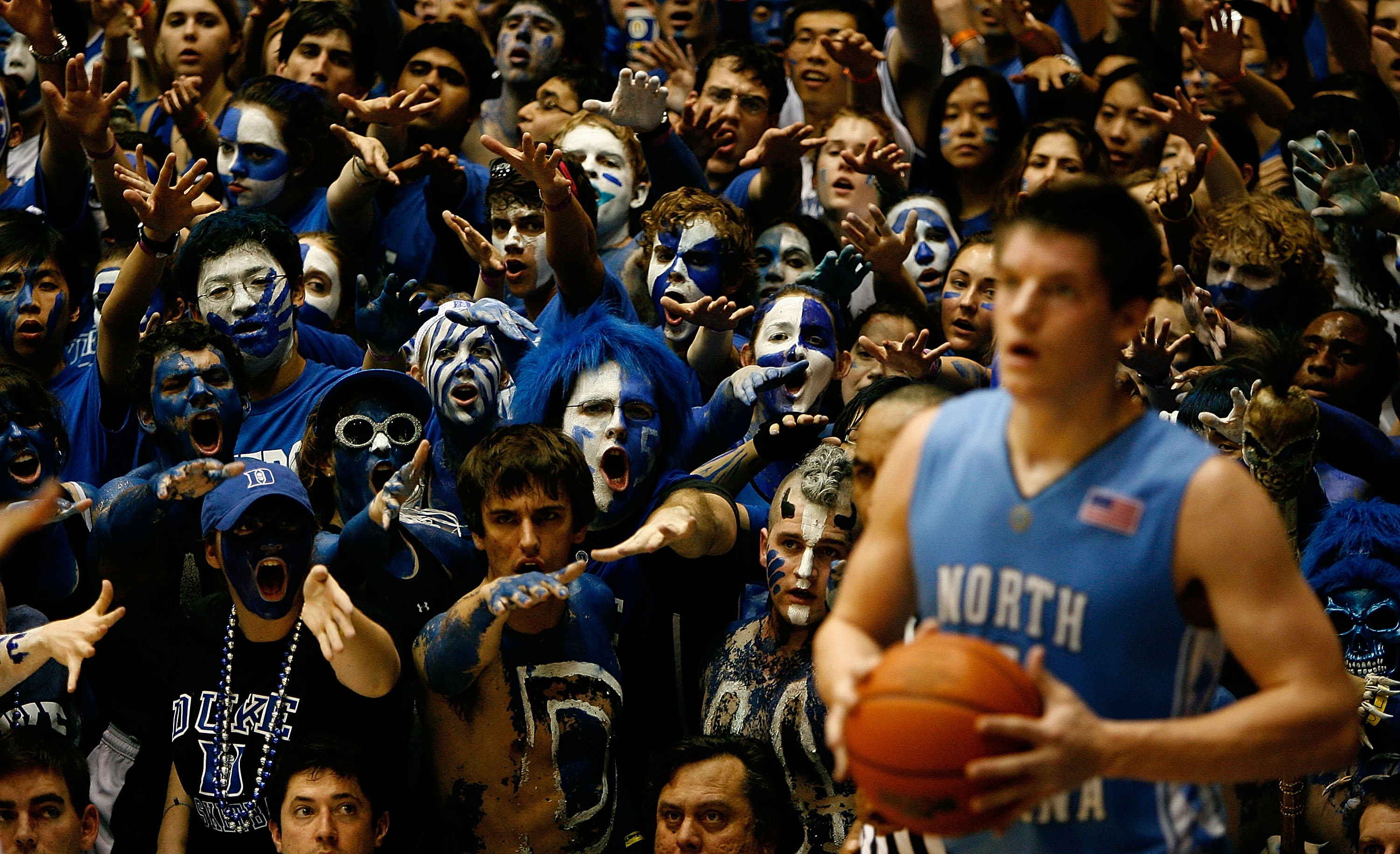 DURHAM, NC - FEBRUARY 11:  The Cameron Crazies of Duke taunt Bobby Frasor #4 of the North Carolina Tar Heels during their game on February 11, 2009 at Cameron Indoor Stadium in Durham, North Carolina.  (Photo by Kevin Cox/Getty Images)