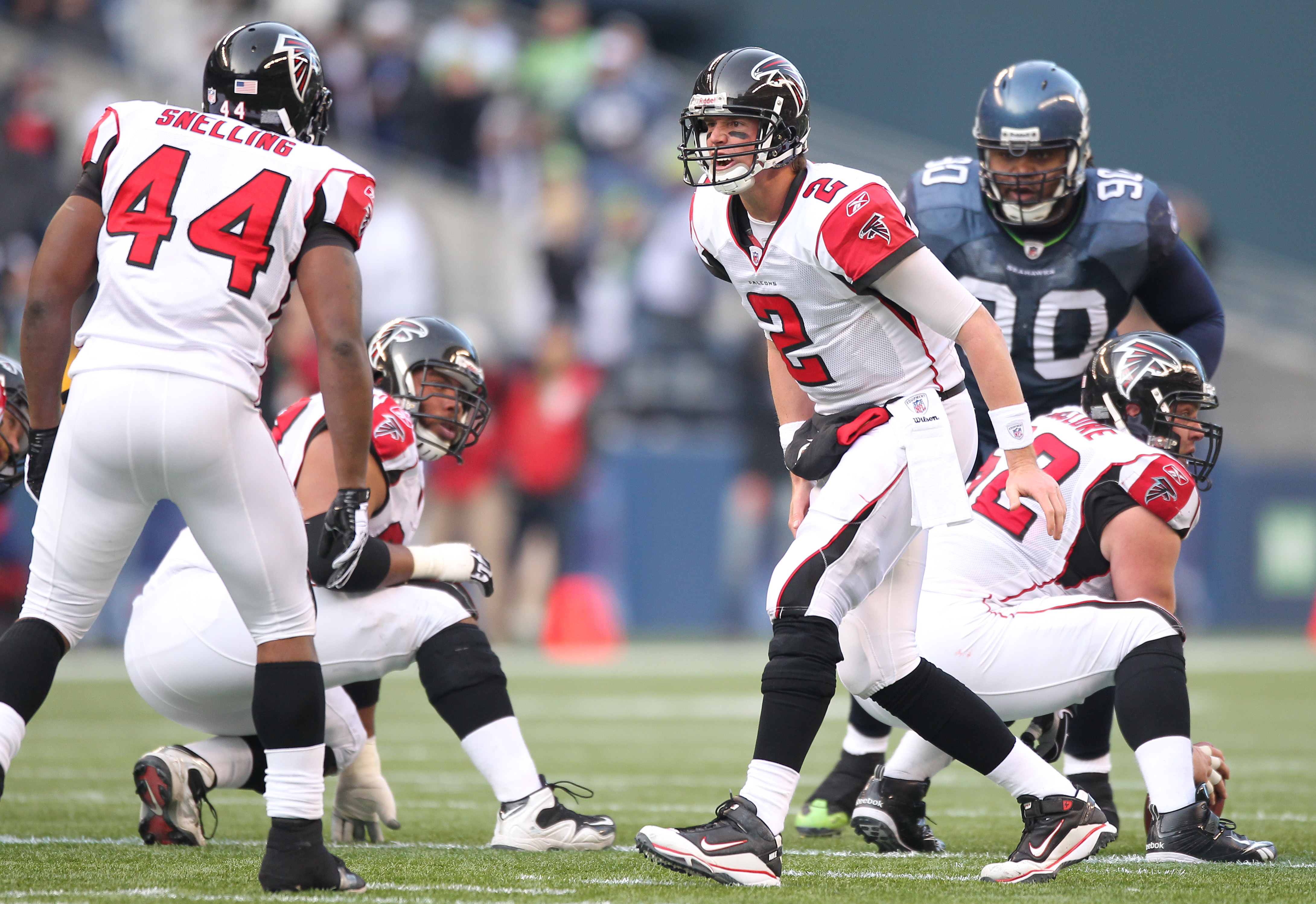 SEATTLE, WA - DECEMBER 19:  Quarterback Matt Ryan #2 of the Atlanta Falcons audibles to Jason Snelling #44 during the game against the Seattle Seahawks at Qwest Field on December 19, 2010 in Seattle, Washington. (Photo by Otto Greule Jr/Getty Images)