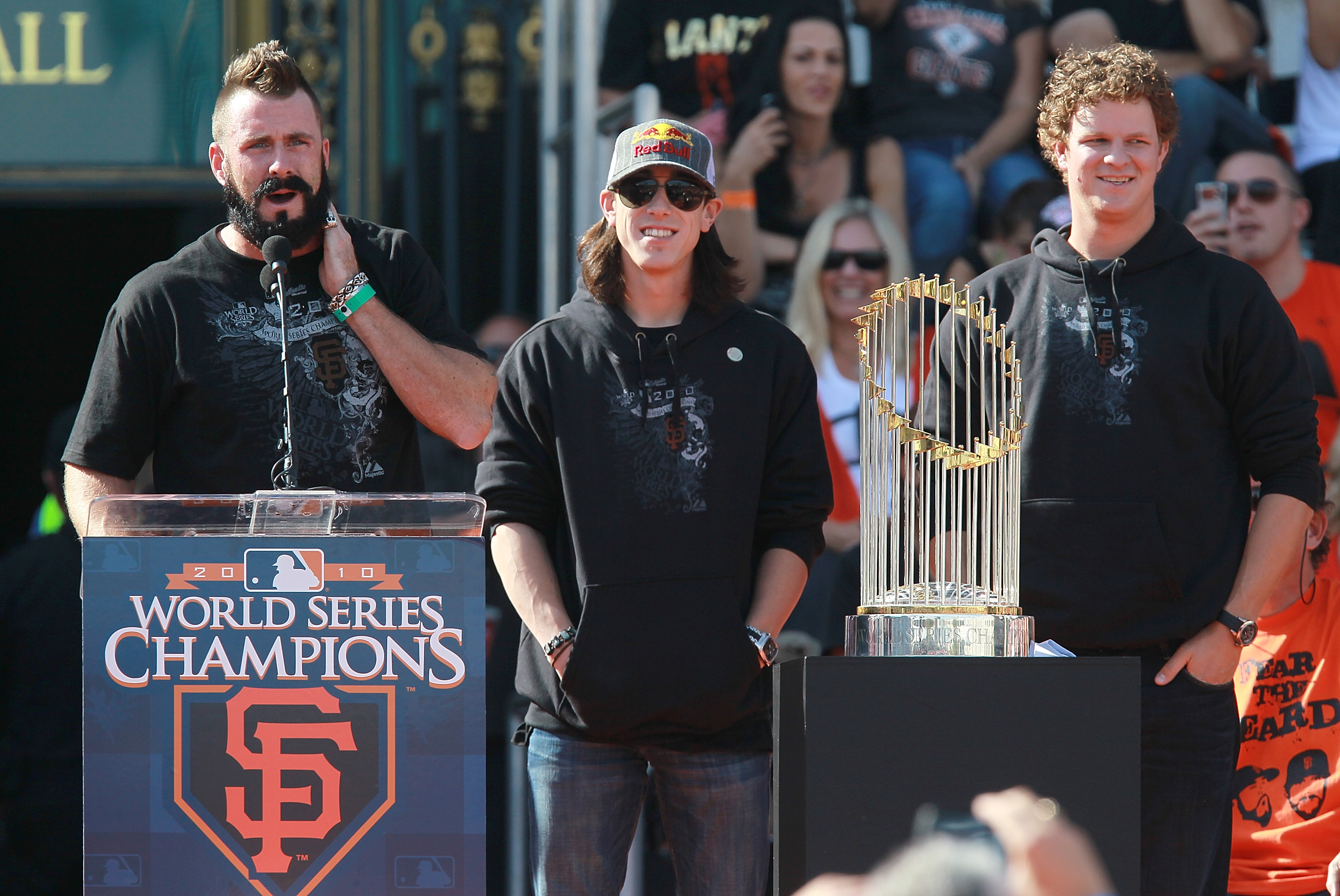 SAN FRANCISCO - NOVEMBER 03:  (L-R) San Francisco Giants pitchers Brian Wilson, Tim Lincecum and Matt Cain speak to fans outside San Francisco city hall during the Giants' victory parade and celebration on November 3, 2010 in San Francisco, California. Th