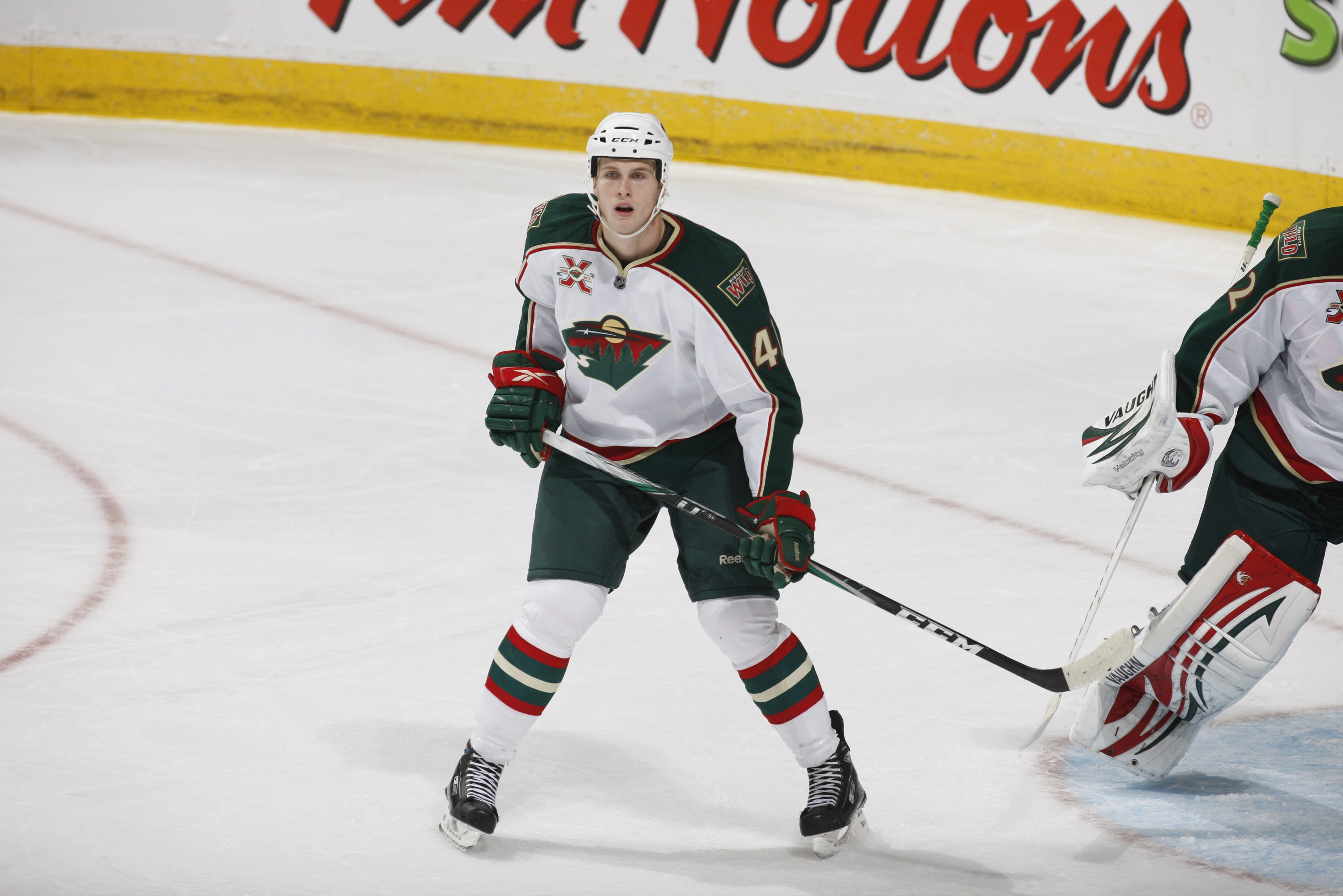 EDMONTON, CANADA - OCTOBER 21: Justin Falk #41 of the Minnesota Wild skates against the Edmonton Oilers on October 21, 2010 at Rexall Place in Edmonton, Alberta, Canada. (Photo by Dale MacMillan/Getty Images)