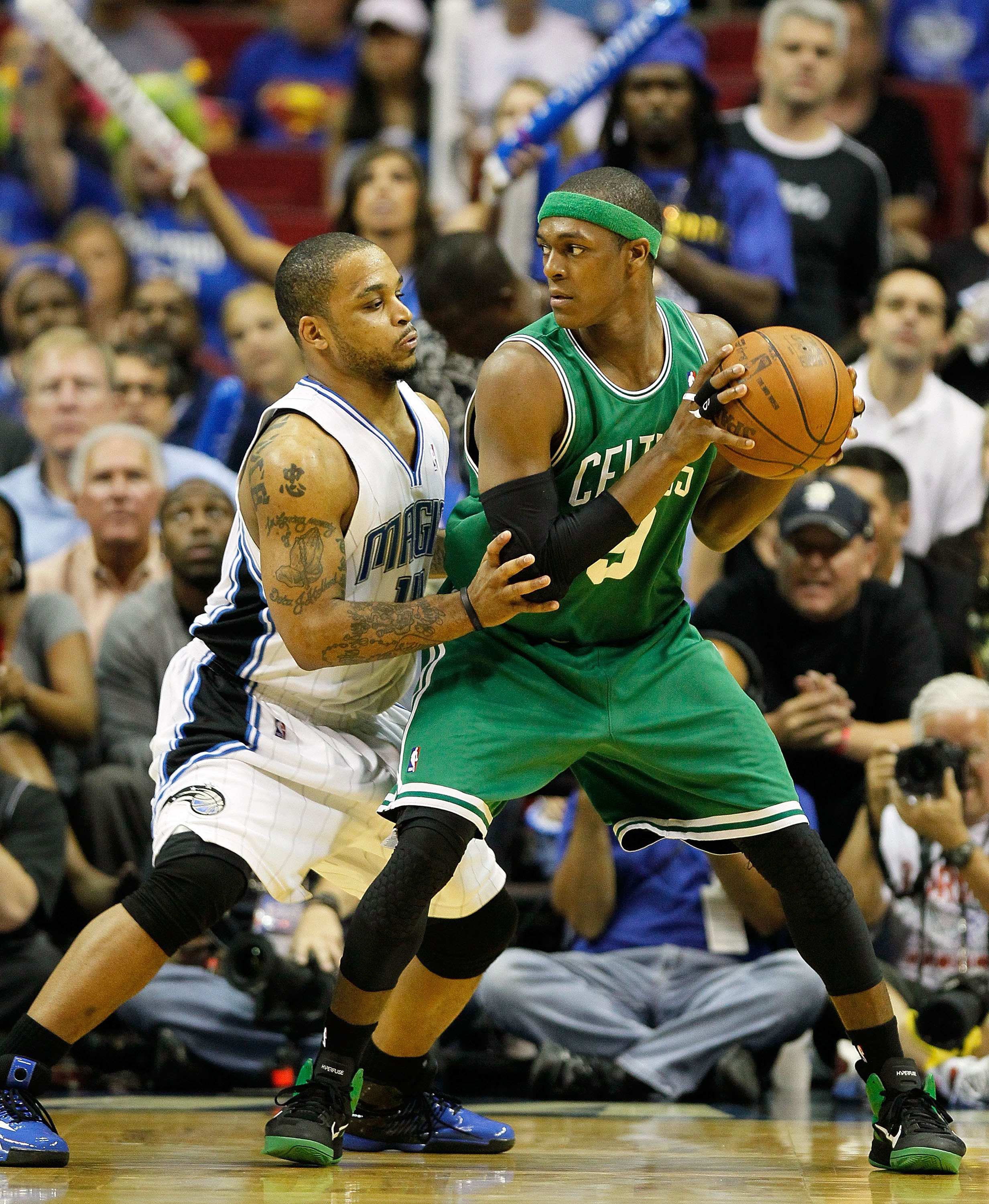 ORLANDO, FL - MAY 26:  Rajon Rondo #9 of the Boston Celtics looks to pass against Jameer Nelson #14 of the Orlando Magic in Game Five of the Eastern Conference Finals during the 2010 NBA Playoffs at Amway Arena on May 26, 2010 in Orlando, Florida.  NOTE T