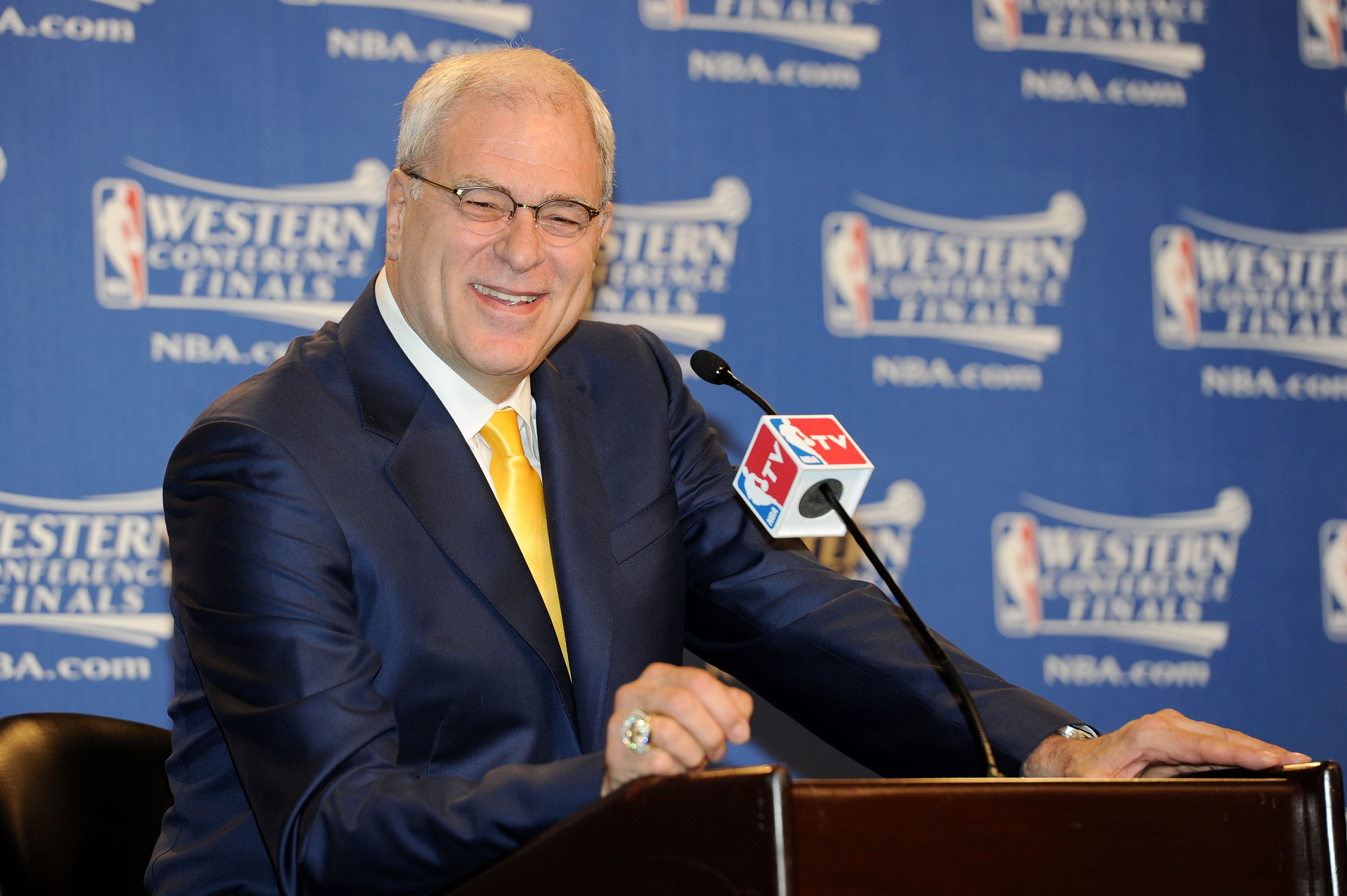 LOS ANGELES, CA - MAY 17:  Phil Jackson, head coach of the Los Angeles Lakers, speaks at a press conference prior to Game One of the Western Conference Finals against the Phoenix Suns in the 2010 NBA Playoffs at Staples Center on May 17, 2010 in Los Angel