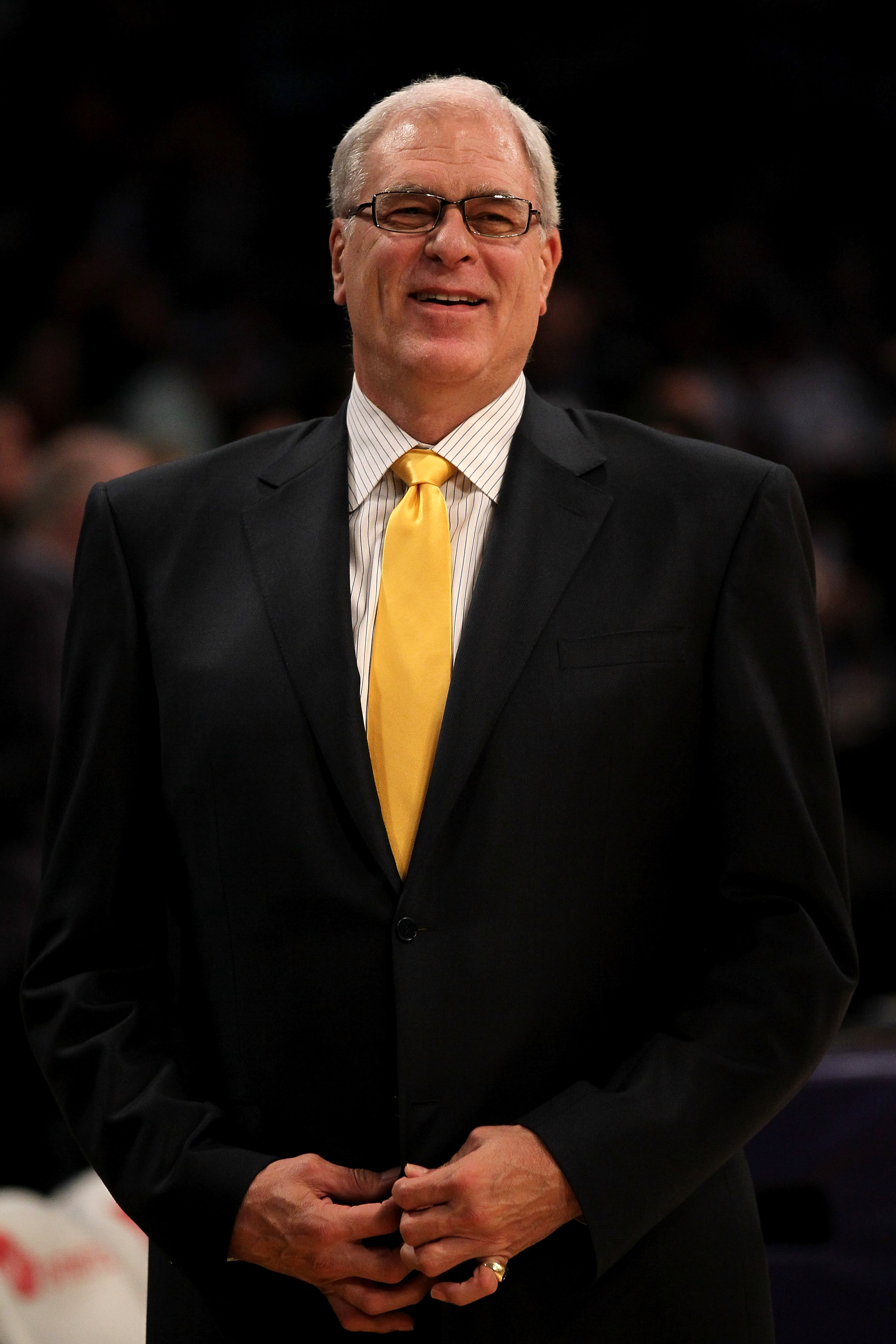 LOS ANGELES - NOVEMBER 9: Head coach Phil Jackson of the Los Angeles Lakers smiles before the game with the Minnesota Timberwolves at Staples Center on November 9, 2010 in Los Angeles, California.  The Lakers won 99-94.  NOTE TO USER: User expressly ackno