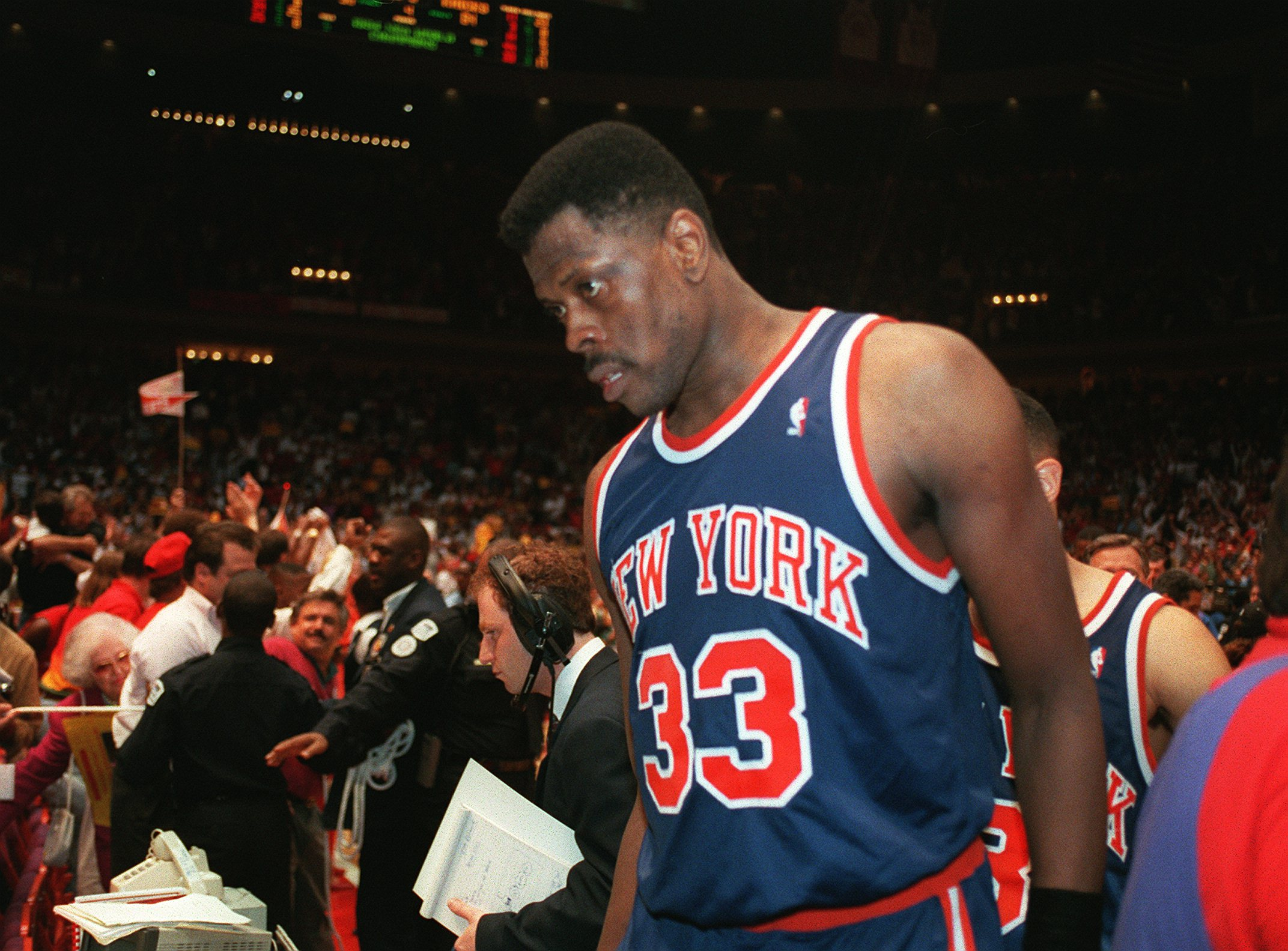 23 Jun 1994: NEW YORK KNICK PATRICK EWING WALKS OFF THE COURT FOLLOWING THE KNICK''S 90-84 LOSS TO THE HOUSTON ROCKETS FOR THE NBA CHAMPIONSHIP AT THE SUMMIT IN HOUSTON.