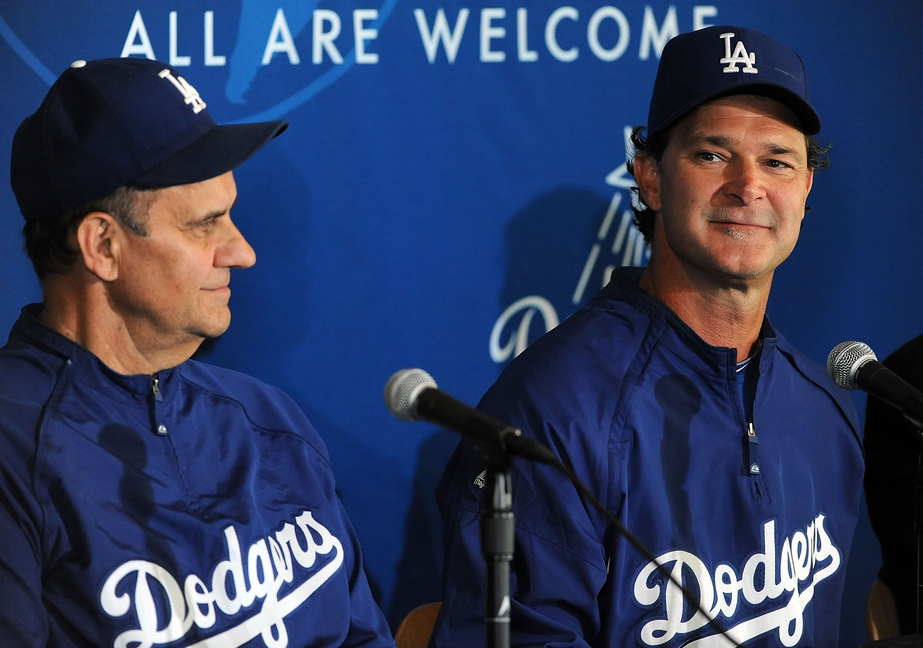 LOS ANGELES, CA - SEPTEMBER 17:  (L-R)Manager Joe Torre and coach Don Mattingly of the Los Angeles Dodgers attend a press conference announcing that Mattingly will manage the Dodgers in 2011 at Dodger Stadium on September17, 2010 in Los Angeles, Californi