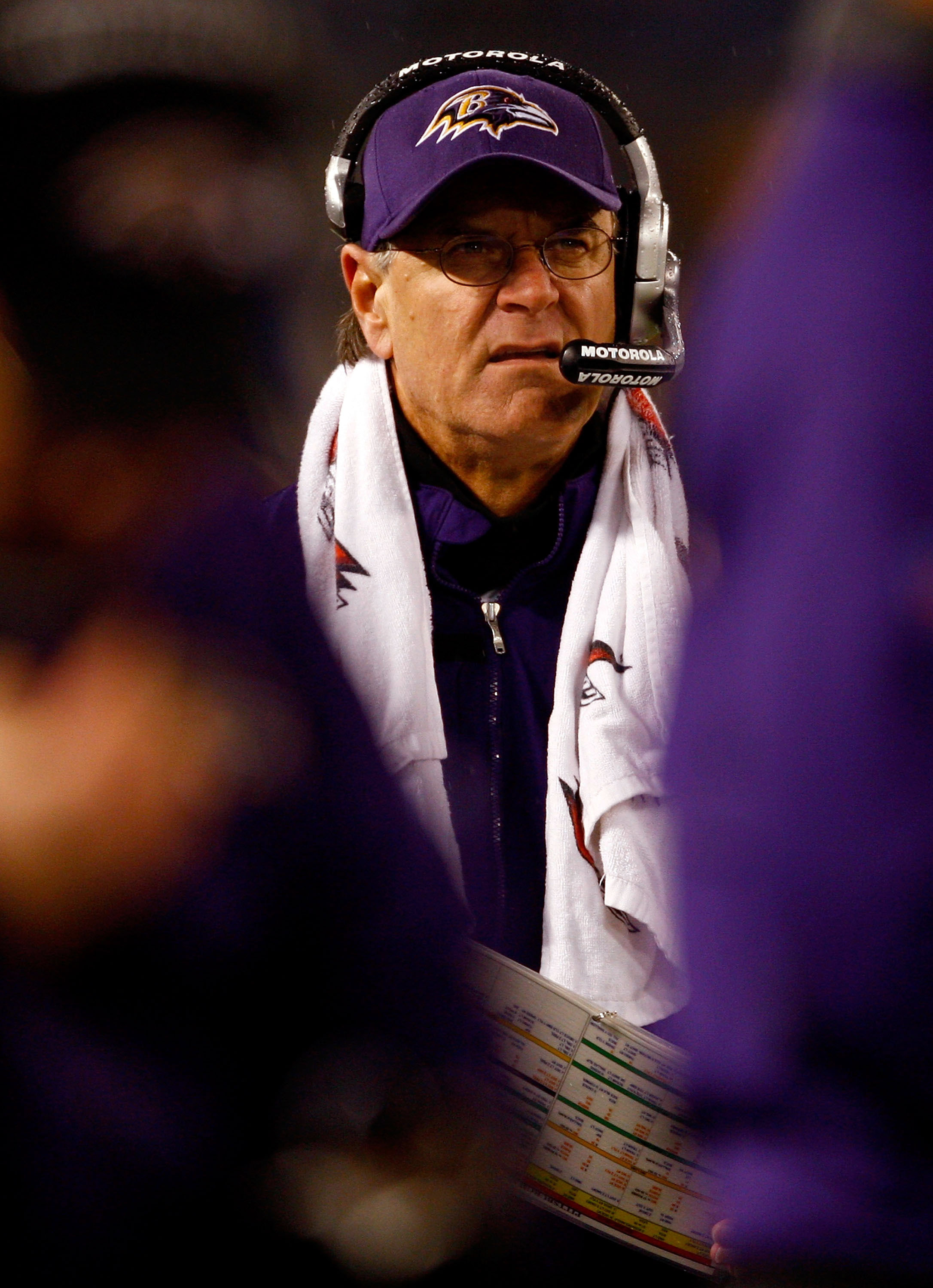 BALTIMORE - DECEMBER 30:  Head coach Brian Billick of the Baltimore Ravens watches the action during the game against the Pittsburgh Steelers at M&T Bank Stadium December 30, 2007 in Baltimore, Maryland.  (Photo by Jamie Squire/Getty Images)