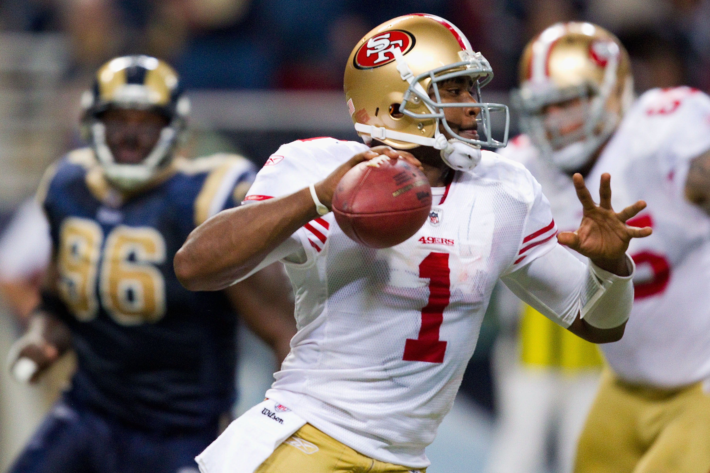 ST. LOUIS, MO - DECEMBER 26: Troy Smith #1 of the San Francisco 49ers looks to pass against the St. Louis Rams at the Edward Jones Dome on December 26, 2010 in St. Louis, Missouri. The Rams beat the 49ers 25-17. (Photo by Dilip Vishwanat/Getty Images)
