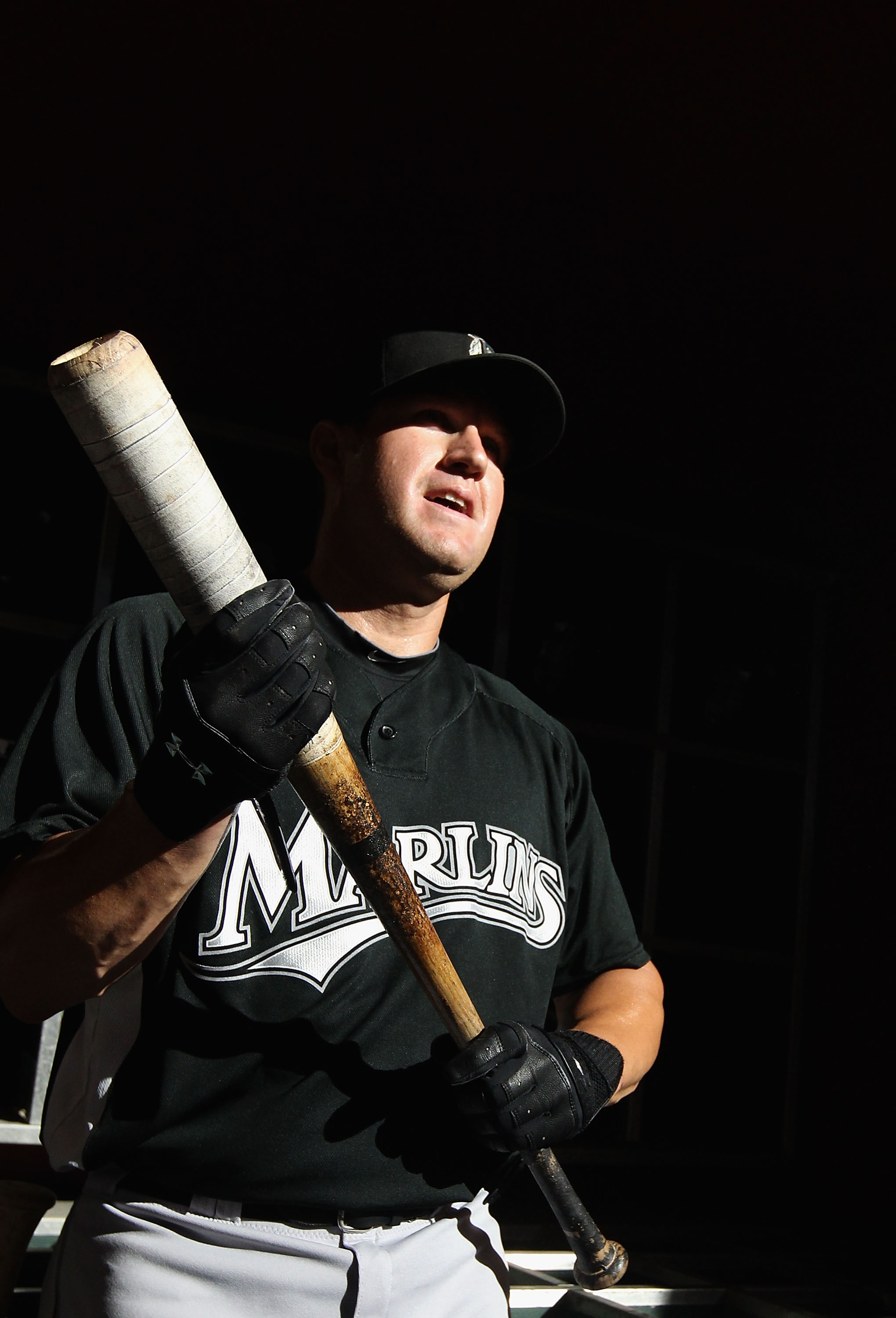 PHOENIX - JULY 08:  Wes Helms #18 of the Florida Marlins warms up before the Major League Baseball game against the Arizona Diamondbacks at Chase Field on July 8, 2010 in Phoenix, Arizona. The Diamondbacks defeated the Marlins 10-4.  (Photo by Christian P