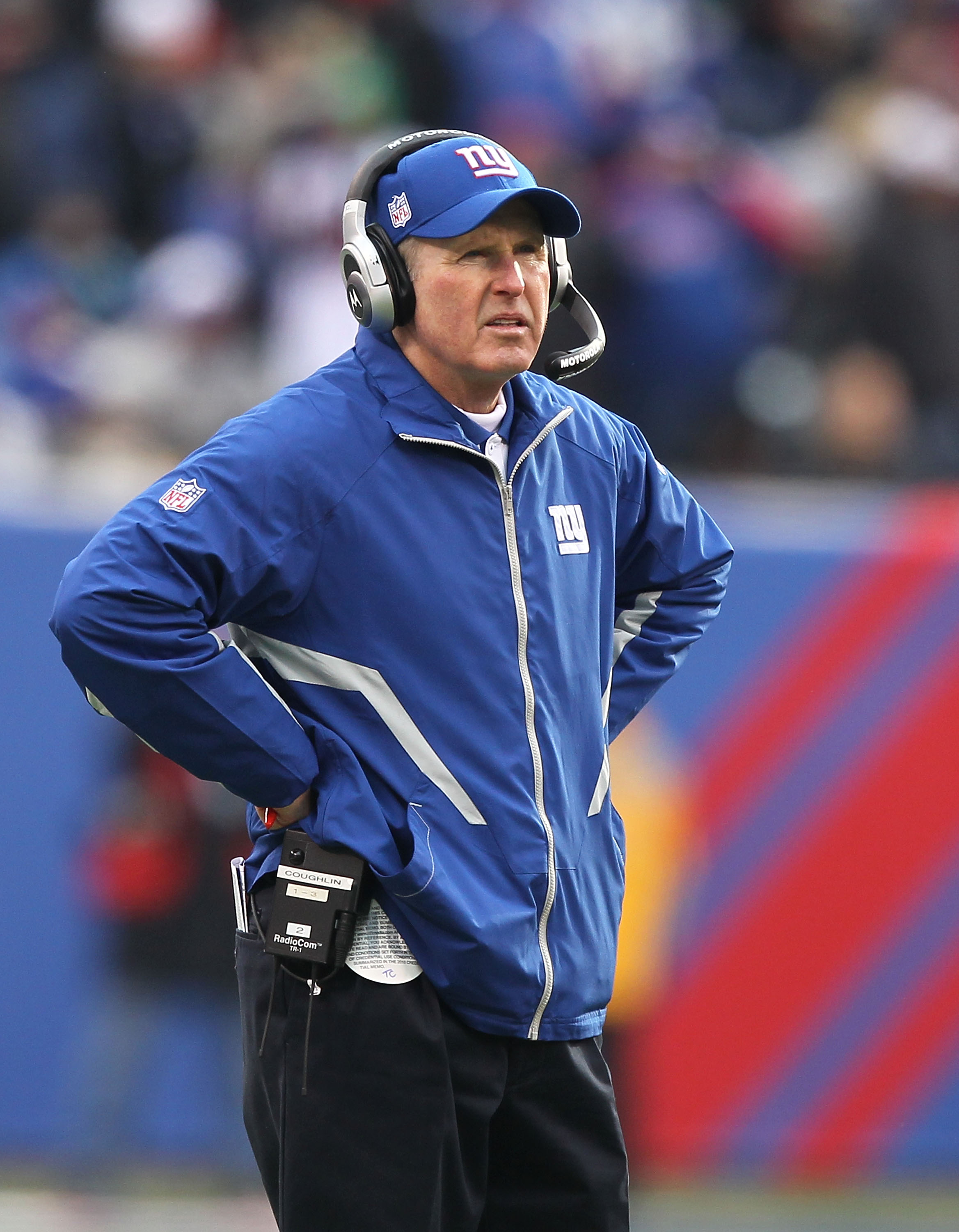 EAST RUTHERFORD, NJ - DECEMBER 19:  Tom Coughlin, Head Coach of the New York Giants looks on against the Philadelphia Eagles during their game on December 19, 2010 at The New Meadowlands Stadium in East Rutherford, New Jersey.  (Photo by Al Bello/Getty Im