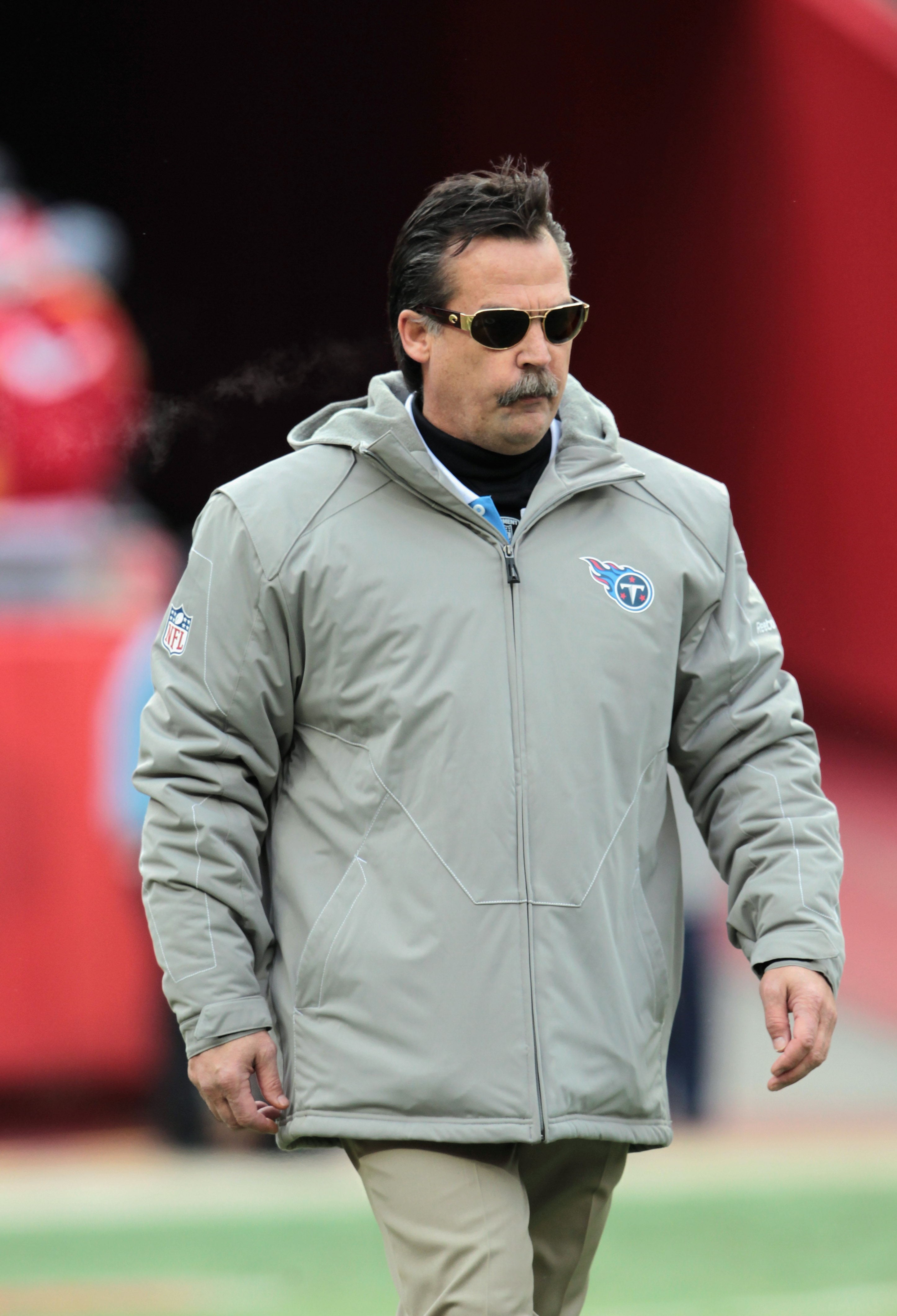 KANSAS CITY, MO - DECEMBER 26:  Head coach Jeff Fisher of the Tennessee Titans walks onto the field prior to the start of the game against the Kansas City Chiefs on December 26, 2010 at Arrowhead Stadium in Kansas City, Missouri.  (Photo by Jamie Squire/G