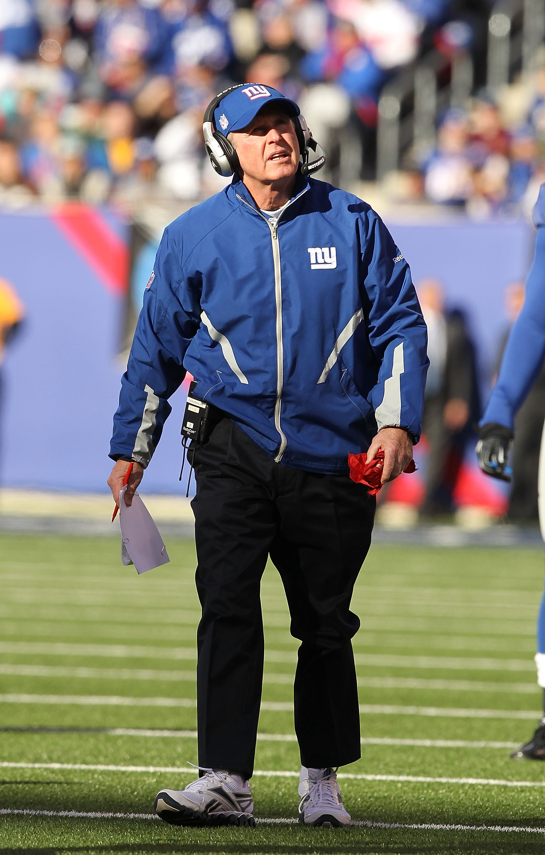 EAST RUTHERFORD, NJ - NOVEMBER 28:  New York Giants Head Coach Tom Coughlin looks on against the Jacksonville Jaguars on November 28, 2010 at The New Meadowlands Stadium in East Rutherford, New Jersey.  (Photo by Al Bello/Getty Images)