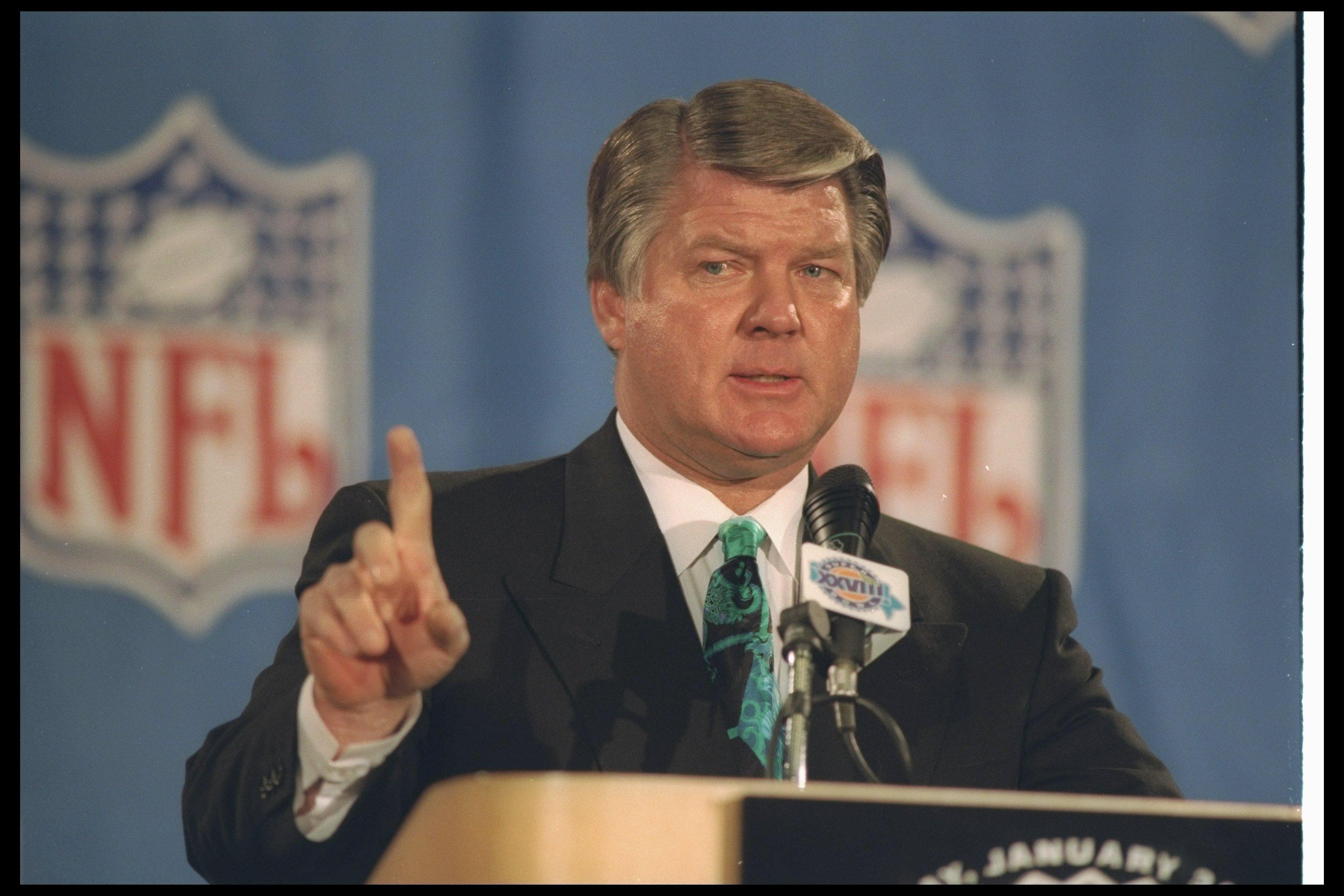28 Jan 1994:  Dallas Cowboys head coach Jimmy Johnson speaks during a press conference before Super Bowl XXVIII against the Buffalo Bills at the Georgia Dome in Atlanta, Georgia.  The Cowboys won the game, 30-13. Mandatory Credit: Jonathan Daniel  /Allspo