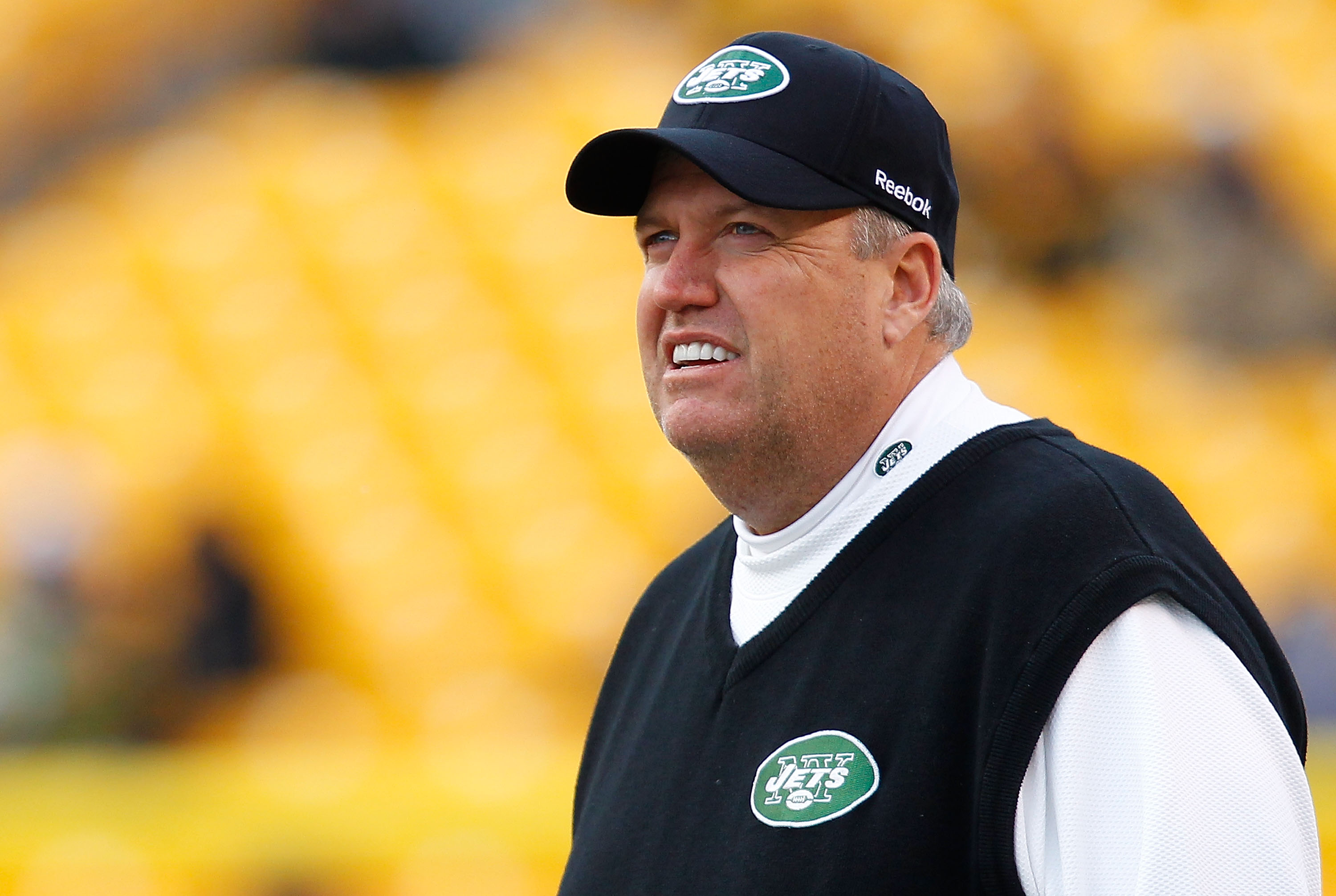 PITTSBURGH - DECEMBER 19:  Head coach Rex Ryan of the New York Jets watches his team warm up before the game against the Pittsburgh Steelers on December 19, 2010 at Heinz Field in Pittsburgh, Pennsylvania.  (Photo by Jared Wickerham/Getty Images)