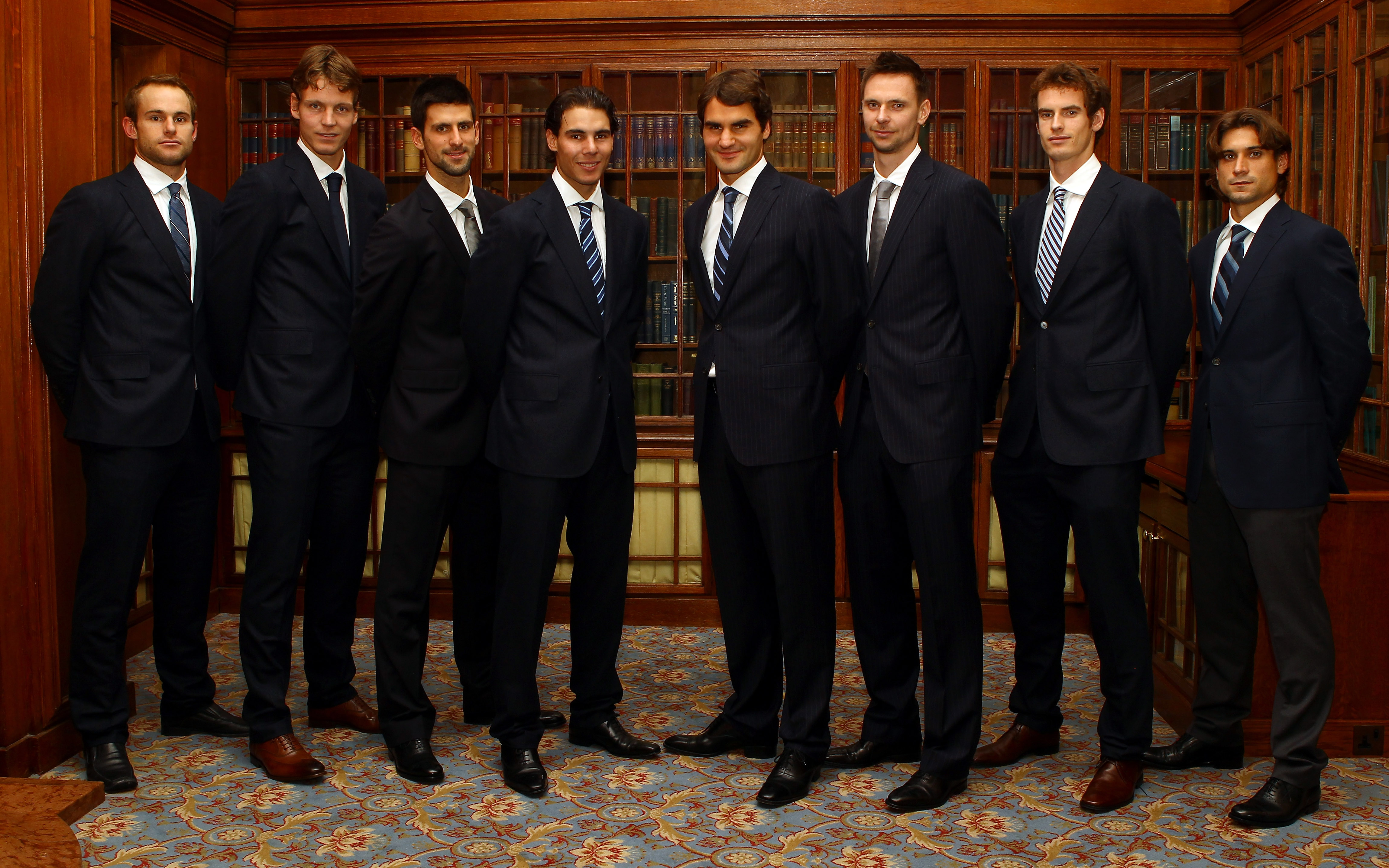LONDON, ENGLAND - NOVEMBER 19:  (L-R)  Andy Roddick of USA, Tomas Berdych of Czech Republic, Novak Djokovic of Serbia, Rafael Nadal of Spain, Roger Federer of Switzerland, Robin Soderling of Sweden, Andy Murray of Great Britain, and David Ferrer of Spain