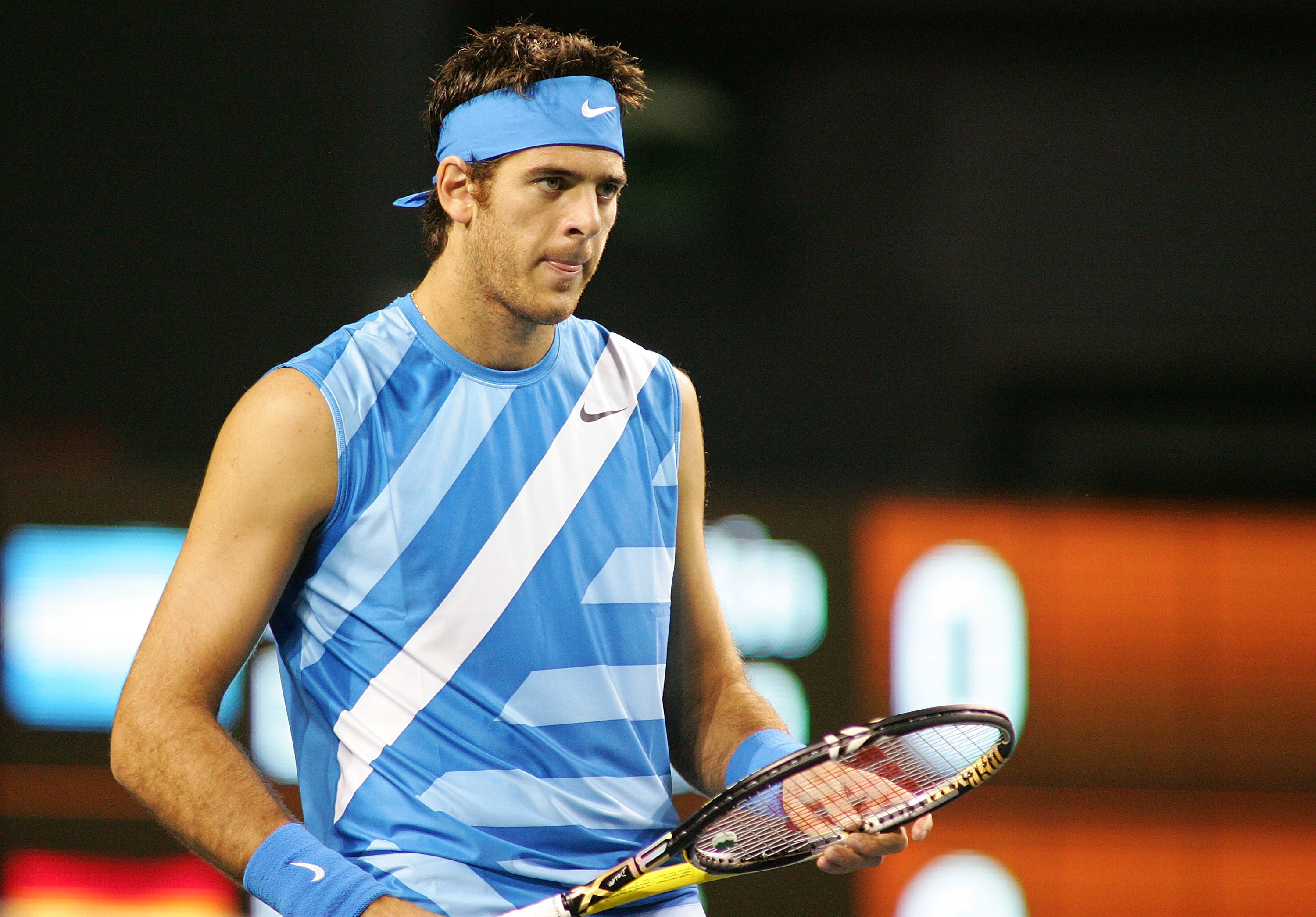 TOKYO - OCTOBER 04: Juan Martin Del Potro of Argentina during his match against Feliciano Lopez of Spain during on day one of the Rakuten Japan Open at Ariake Colosseum on October 4, 2010 in Tokyo, Japan. (Photo by Koji Watanabe/Getty Images)