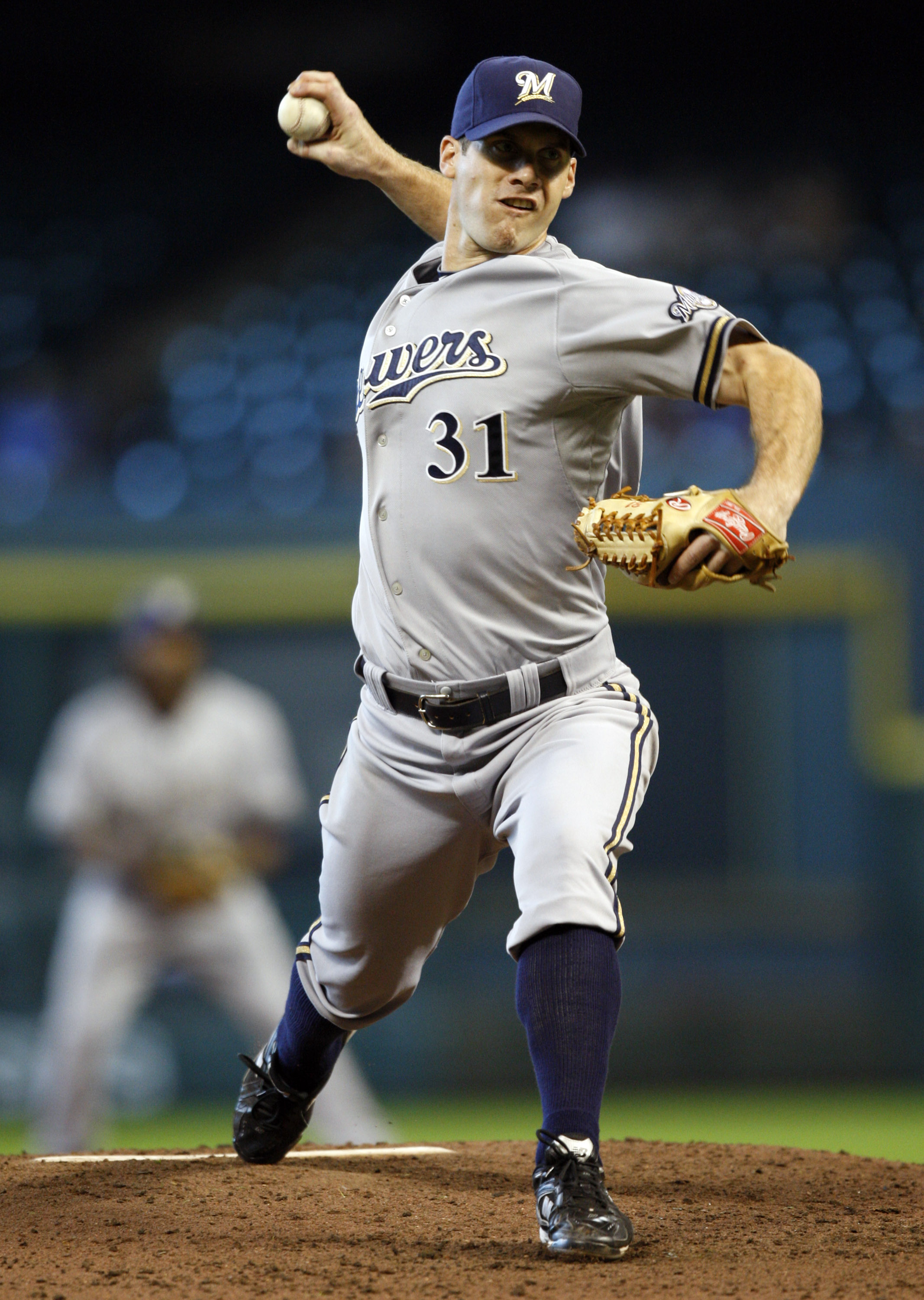 HOUSTON - SEPTEMBER 15:  Pitcher Dave Bush #31 of the Milwaukee Brewers throws against the Houston Astros at Minute Maid Park on September 15, 2010 in Houston, Texas.  (Photo by Bob Levey/Getty Images)
