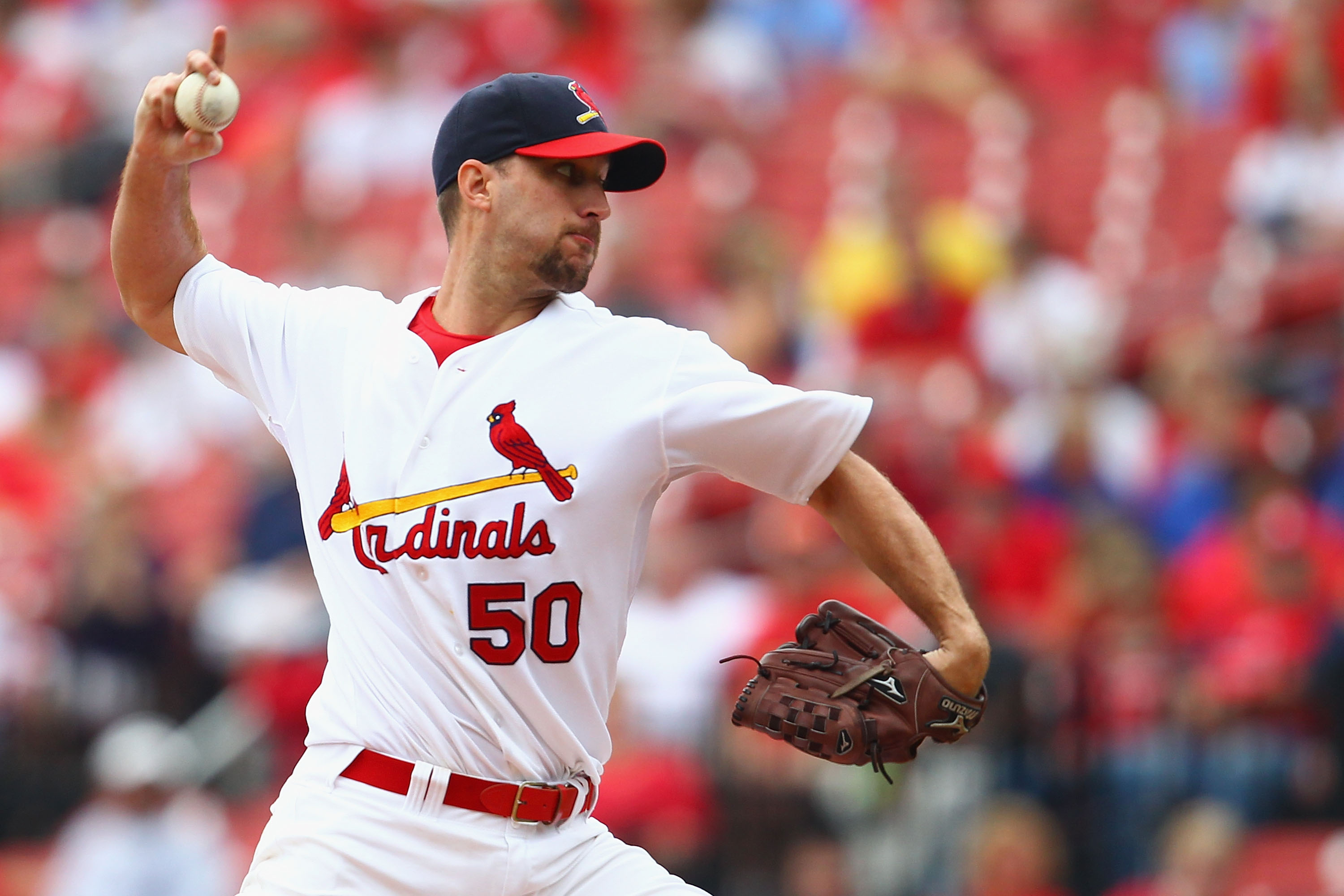 ST. LOUIS - SEPTEMBER 19: Starter Adam Wainwright #50 of the St. Louis Cardinals pitches against the San Diego Padres at Busch Stadium on September 19, 2010 in St. Louis, Missouri.  The Cardinals beat the Padres 4-1.  (Photo by Dilip Vishwanat/Getty Image