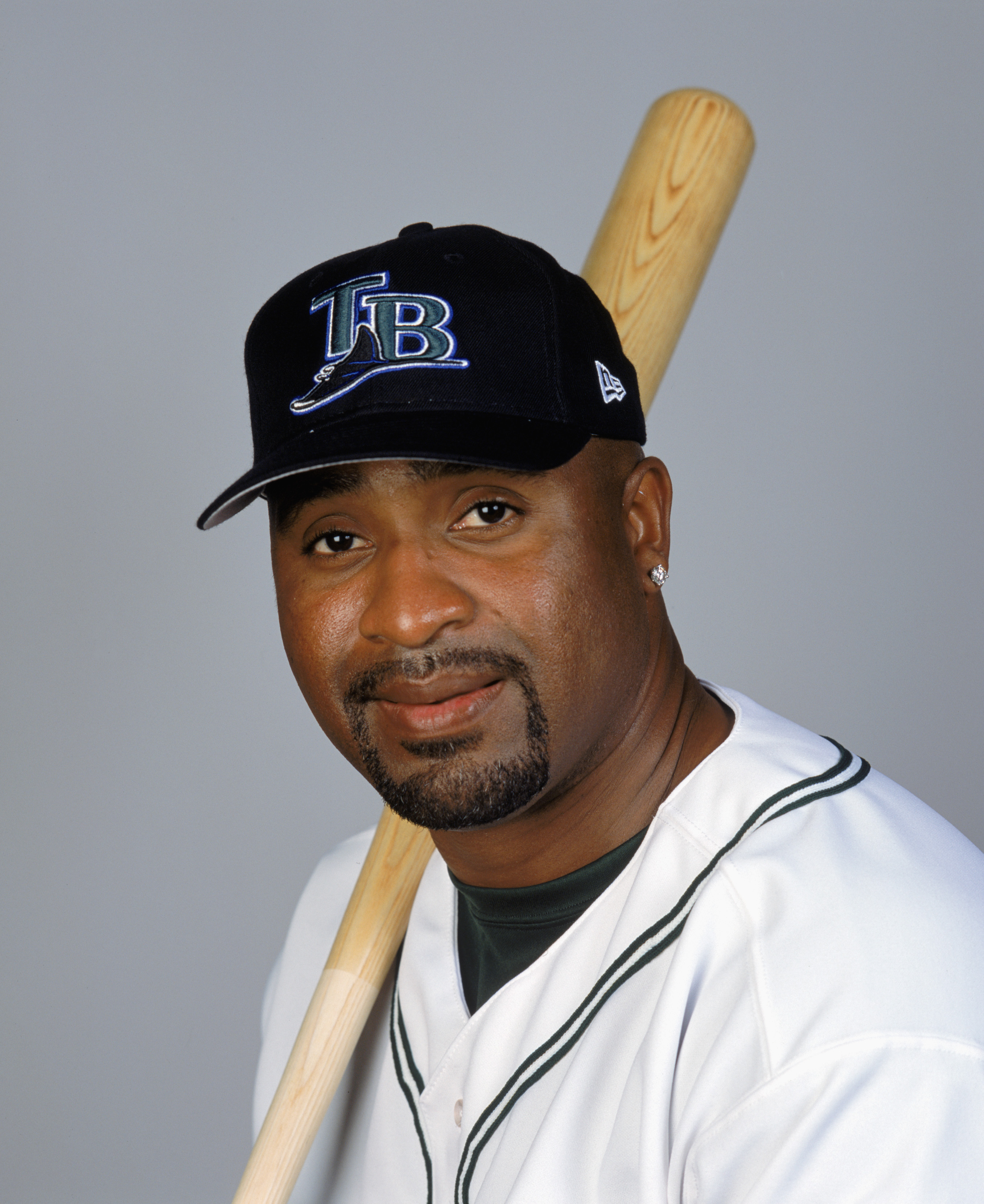 ST. PETERSBURG, FL- FEBRUARY 22:  Greg Vaughn #23 poses for a portrait during the Tampa Bay Devil Rays Media Day at Florida Power Park on February 22, 2003 in St. Petersburg, Florida. (Photo by: Ezra Shaw/Getty Images)