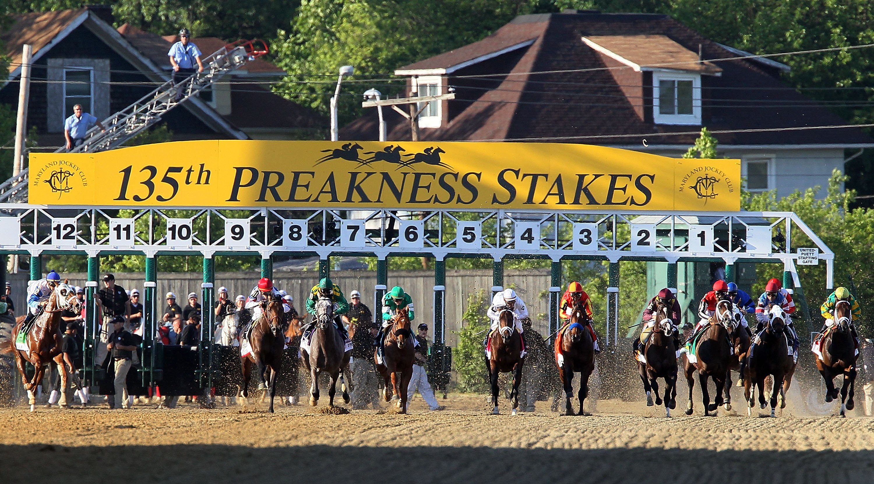 BALTIMORE - MAY 15:  The pack leaves the gate to start the 135th running of the Preakness Stakes at Pimlico Race Course on May 15, 2010 in Baltimore, Maryland.  (Photo by Jim McIsaac/Getty Images)