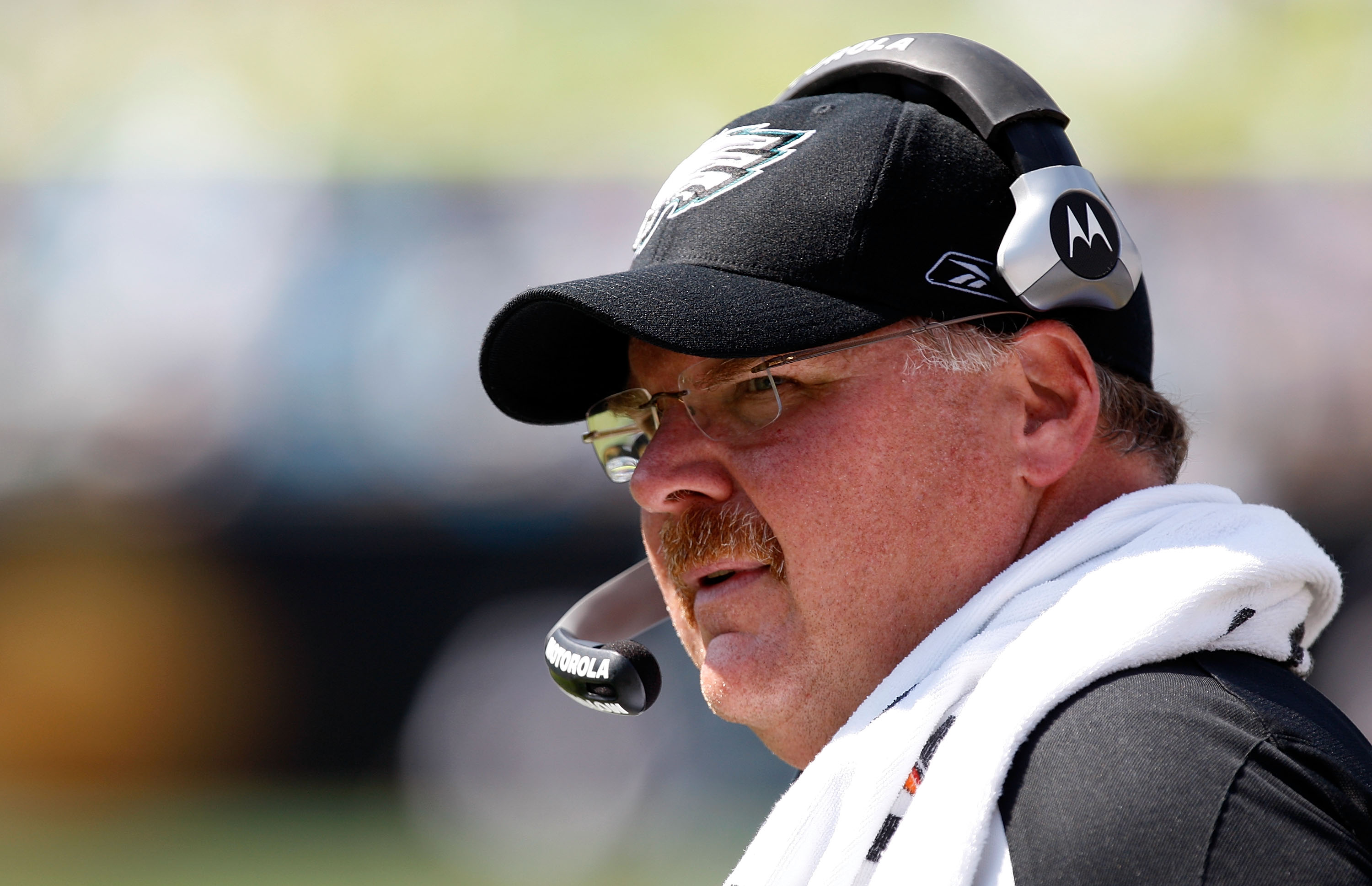 CHARLOTTE, NC - SEPTEMBER 13:  Head Coach of the Philadelphia Eagles, Andy Reid, stands on the field during their NFL season opener against the Carolina Panthers at Bank of America Stadium on September 13, 2009 in Charlotte, North Carolina.  (Photo by Str