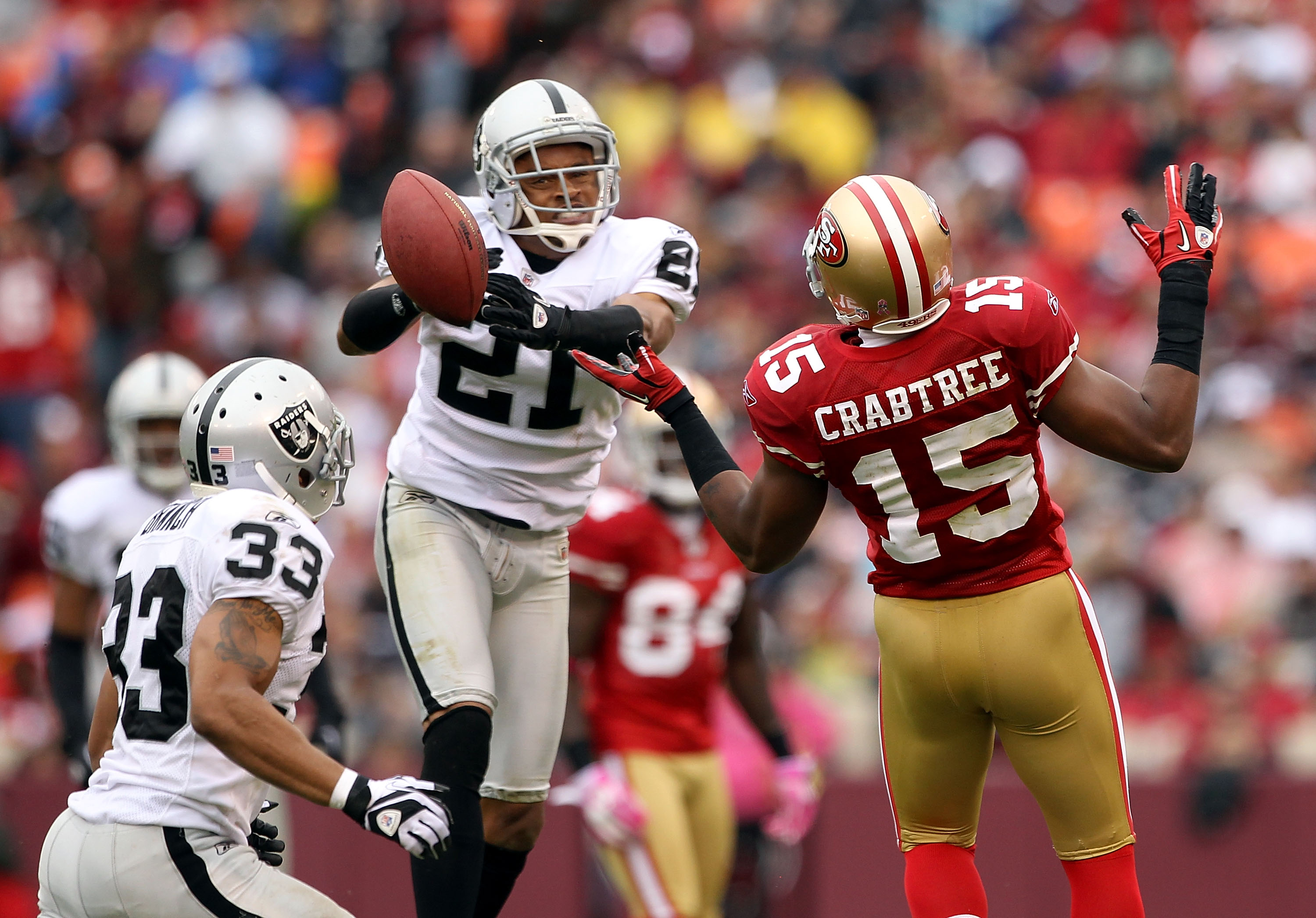 WR Michael Crabtree speechless as the best CB in the NFL assist in catching the pigskin