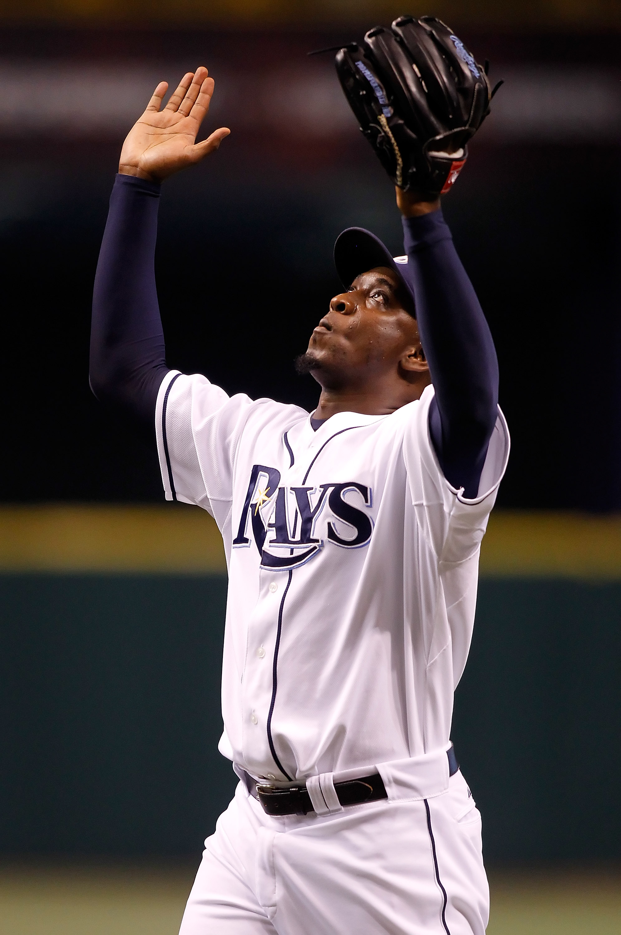 ST. PETERSBURG - SEPTEMBER 24:  Relief pitcher Rafael Soriano #29 of the Tampa Bay Rays celebrates his team record 44th save against the Seattle Mariners at Tropicana Field on September 24, 2010 in St. Petersburg, Florida. Tampa Bay beat the Seattle Marin