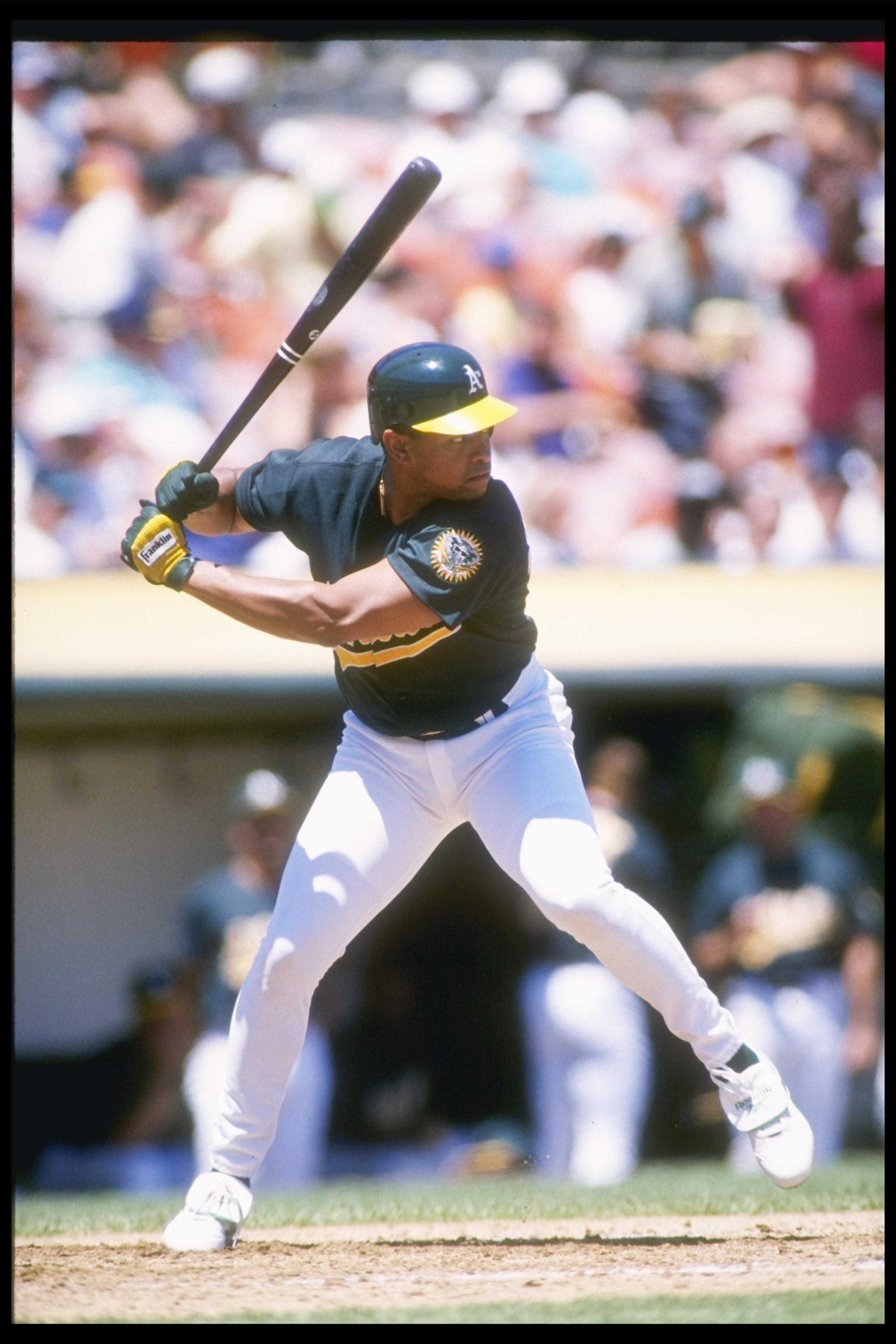 2 Aug 1995:  Outfielder Danny Tartabull of the Oakland Athletics at bat  during a game against the Texas Rangers at the Oakland Coliseum in Oakland, California.  The Rangers won the game 5-4. Mandatory Credit: Otto Greule  /Allsport