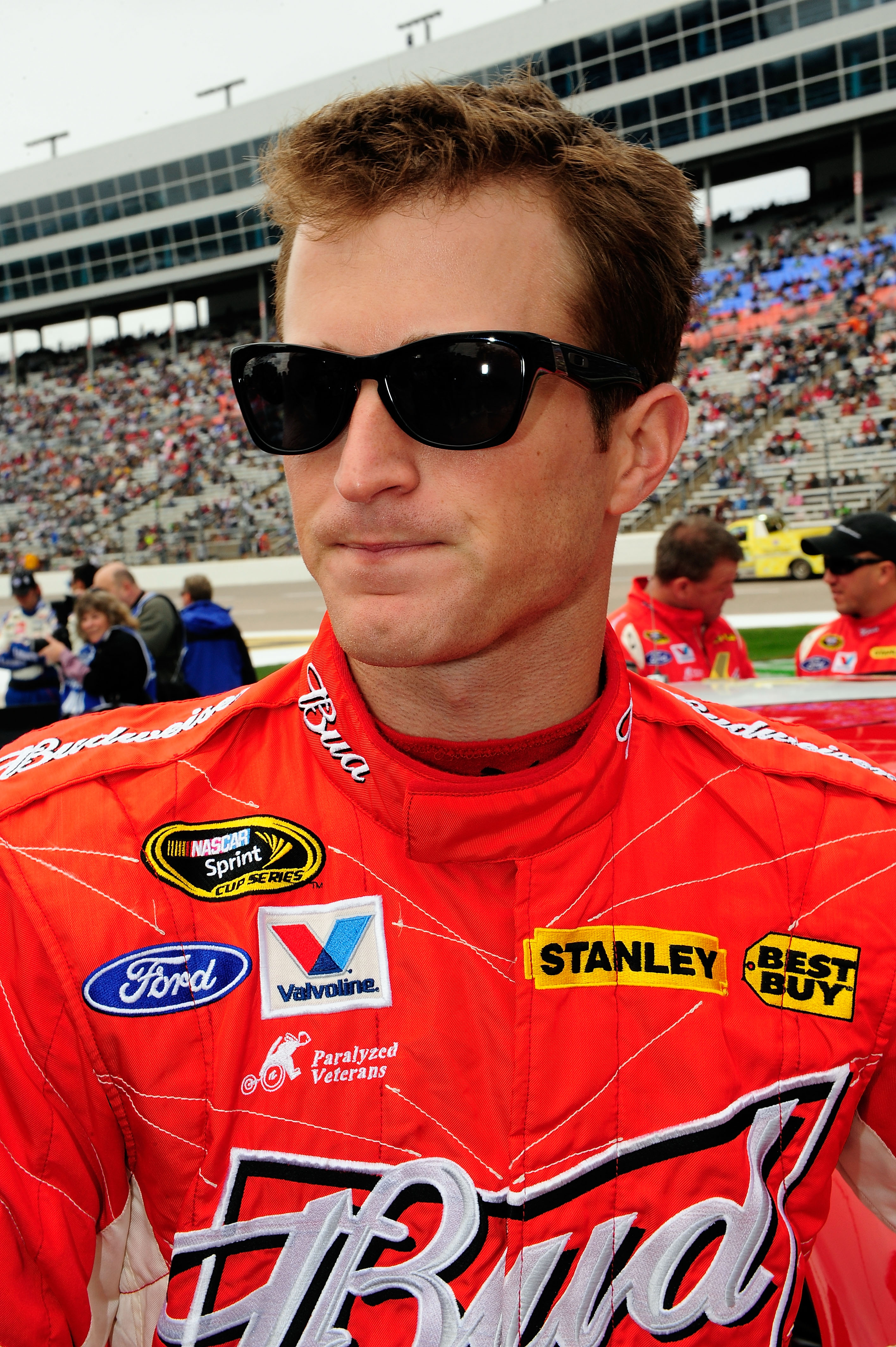 FORT WORTH, TX - APRIL 19:  Kasey Kahne, driver of the #9 Budweiser Ford, looks on prior to the start of the NASCAR Sprint Cup Series Samsung Mobile 500 at Texas Motor Speedway on April 19, 2010 in Fort Worth, Texas.  (Photo by Rusty Jarrett/Getty Images