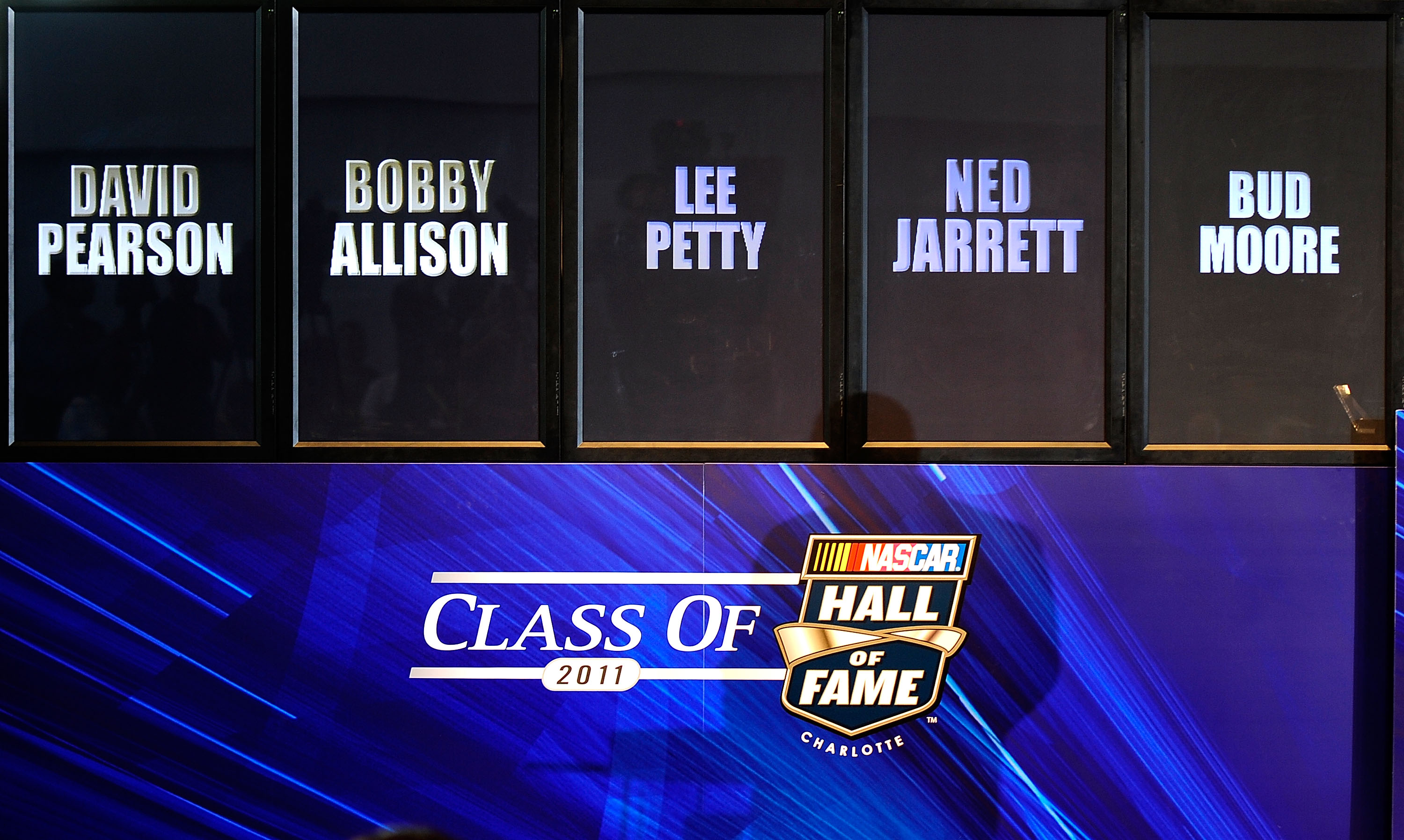 CHARLOTTE, NC - OCTOBER 13:   The 2011 NASCAR Hall of Fame class is displayed during NASCAR Hall of Fame Voting Day at the NASCAR Hall of Fame on October 13, 2010 in Charlotte, North Carolina.  (Photo by Rusty Jarrett/Getty Images for NASCAR)