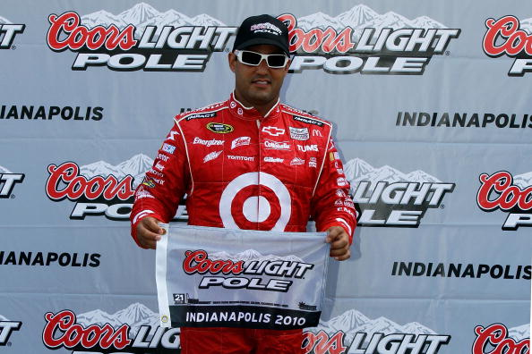 INDIANAPOLIS - JULY 24:  Juan Pablo Montoya, driver of the #42 Target Chevrolet, wins the pole during qualifying for the NASCAR Sprint Cup Series Brickyard 400 at Indianapolis Motor Speedway on July 24, 2010 in Indianapolis, Indiana.  (Photo by Jason Smit