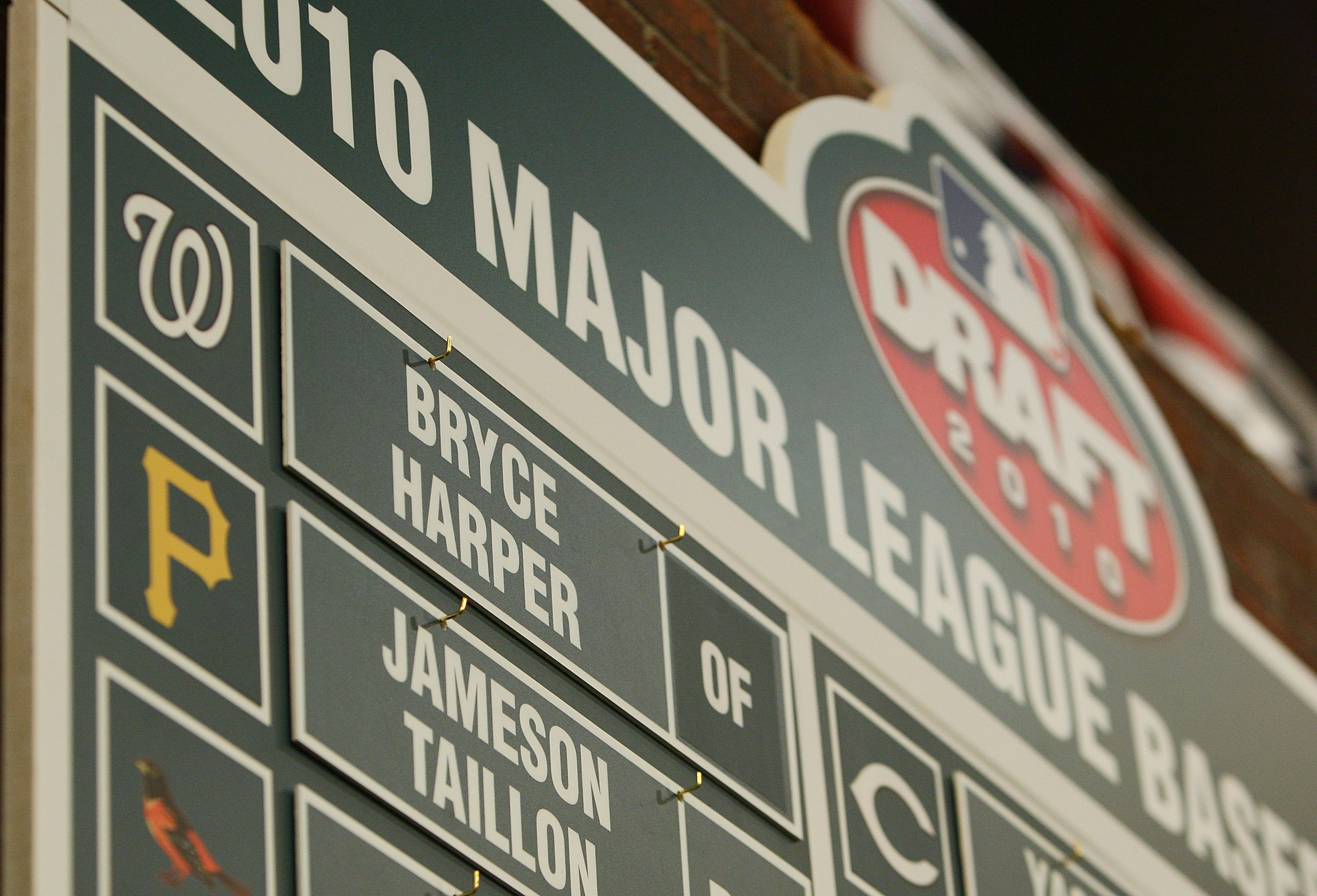 SECAUCUS, NJ - JUNE 07:  A detailed view of the first overall pick of the Washington Nationals Bryce Harper on the draft board during the MLB First Year Player Draft on June 7, 2010 held in Studio 42 at the MLB Network in Secaucus, New Jersey.  (Photo by