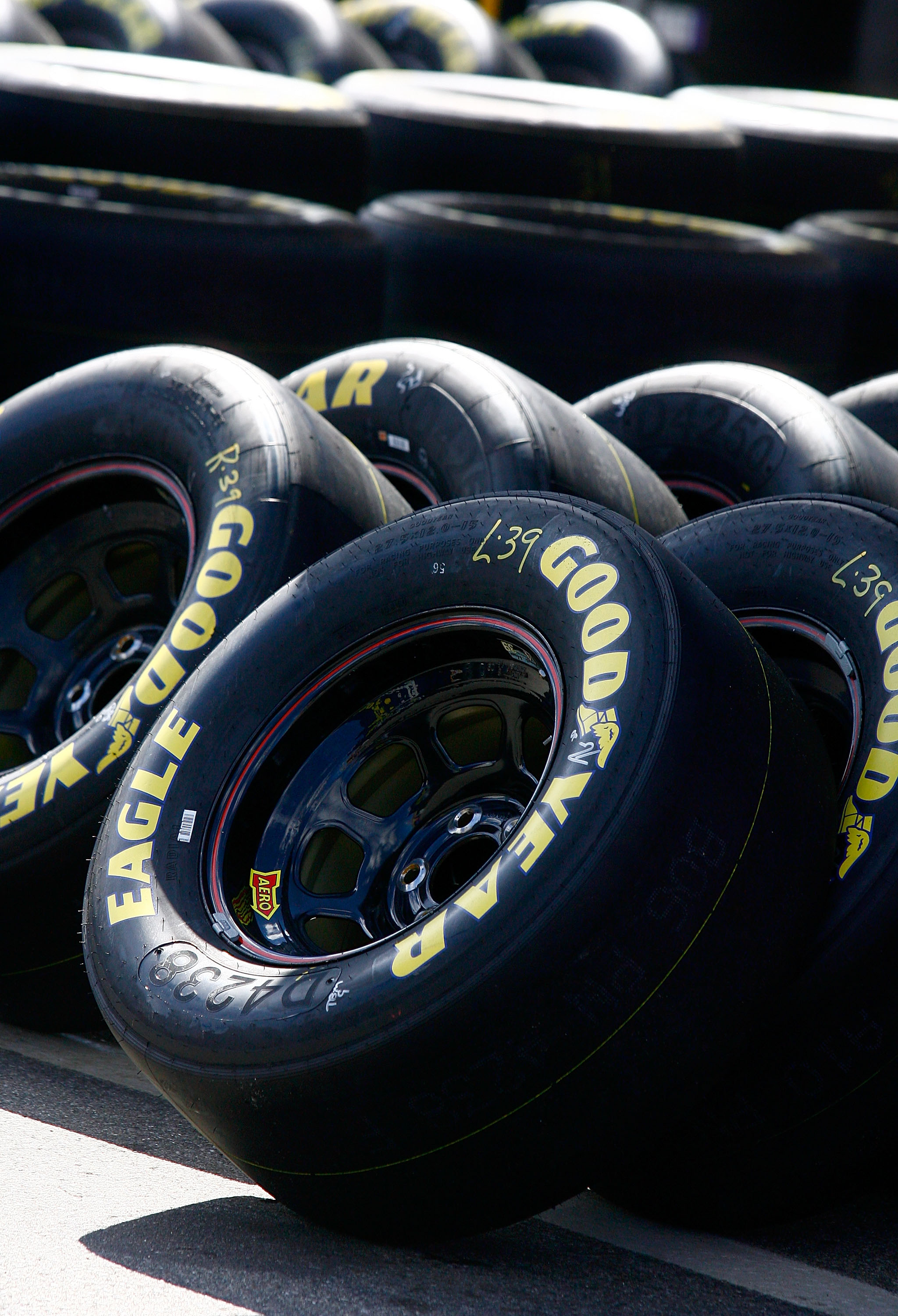 LOUDON, NH - SEPTEMBER 18:  A general view of NASCAR Sprint Cup Goodyear tires in the garage area during practice for the NASCAR Sprint Cup Series Sylvania 300 at New Hampshire Motor Speedway on September 18, 2010 in Loudon, New Hampshire.  (Photo by Jaso
