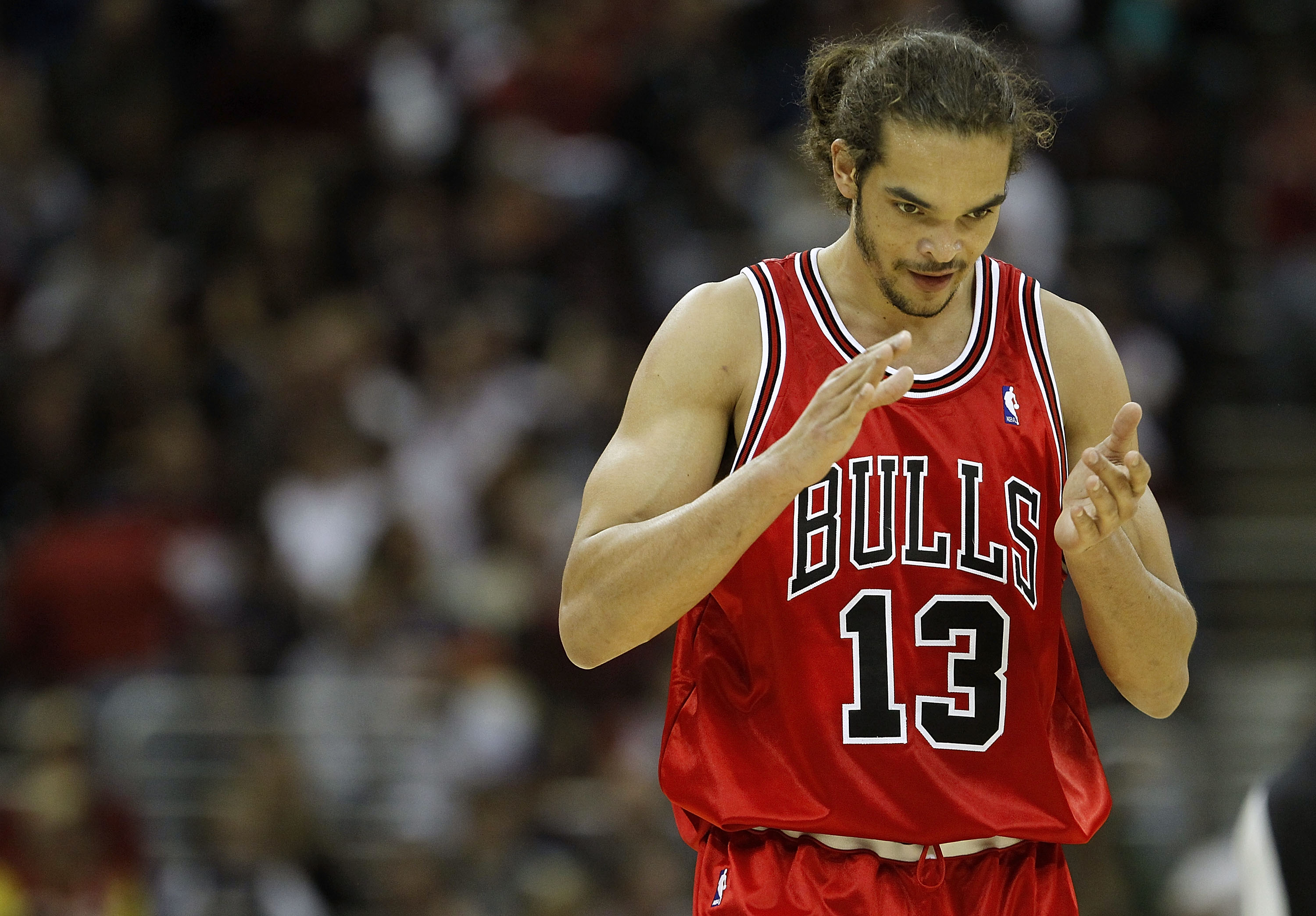 CLEVELAND - APRIL 19:  Joakim Noah #13  of the Chicago Bulls reacts after making a first quarter basket against the Cleveland Cavaliers in Game Two of the Eastern Conference Quarterfinals during the 2010 NBA Playoffs at Quicken Loans Arena on April 19, 20