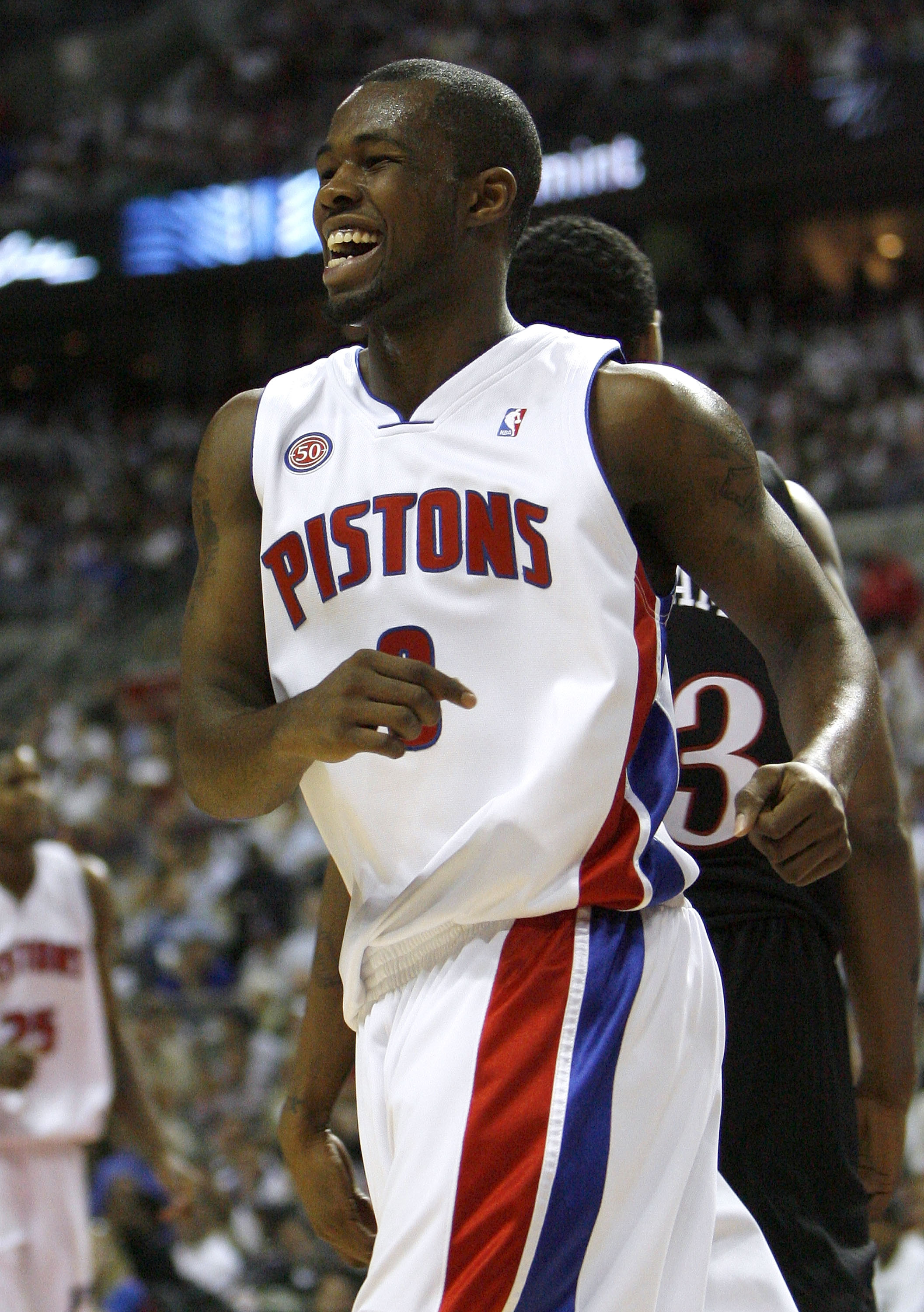 AUBURN HILLS, MI - APRIL 23:  Rodney Stuckey #3 of the Detroit Pistons smiles after a fourth quarter basket against the Philadelphia 76ers in Game Two of the Eastern Conference Quarterfinals during the 2008 NBA Playoffs at the Palace of Auburn Hills on Ap