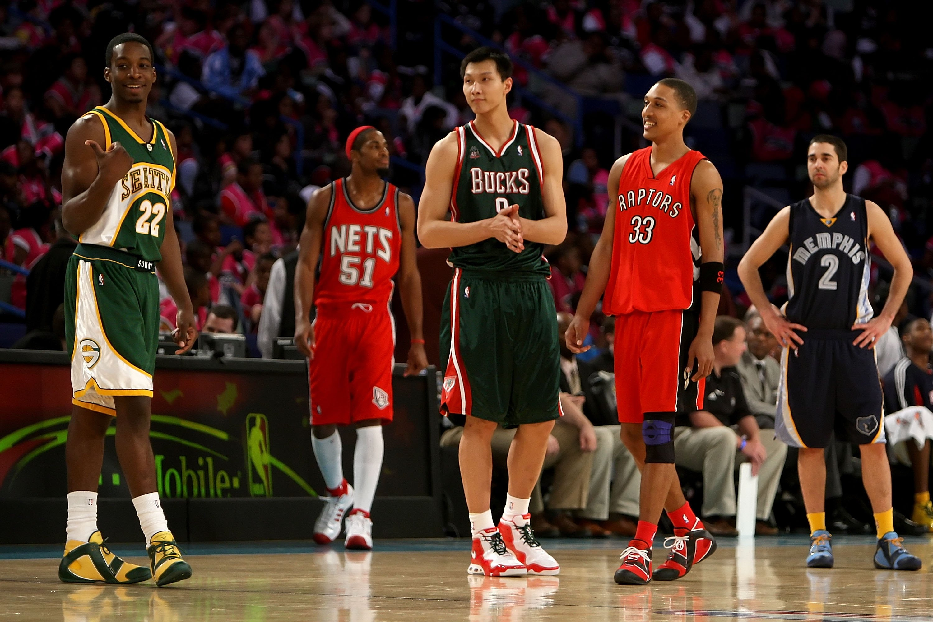 NEW ORLEANS - FEBRUARY 15:  (L-R) Jeff Green #22, Sean Williams #51, Yi Jianlian #9, Jamario Moon #33 and Juan Carlos Navarro #2 of the Rookie team stand on the court during the T-Mobile Rookie Challenge & Youth Jam part of 2008 NBA All-Star Weekend at th