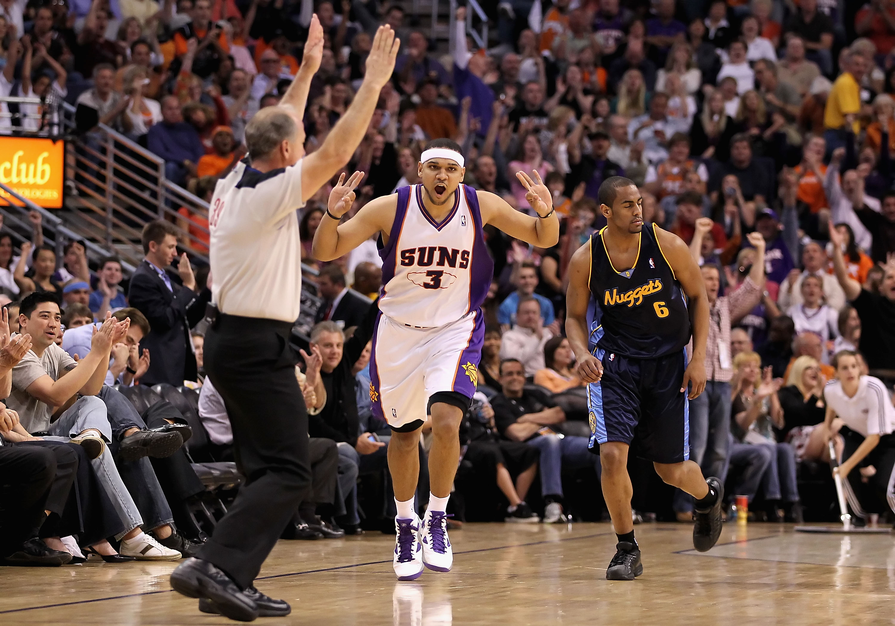 PHOENIX - APRIL 13:  Jared Dudley #3 of the Phoenix Suns reacts after hitting a three point shot over Arron Afflalo #6 of the Denver Nuggets during the NBA game at US Airways Center on April 13, 2010 in Phoenix, Arizona. NOTE TO USER: User expressly ackno