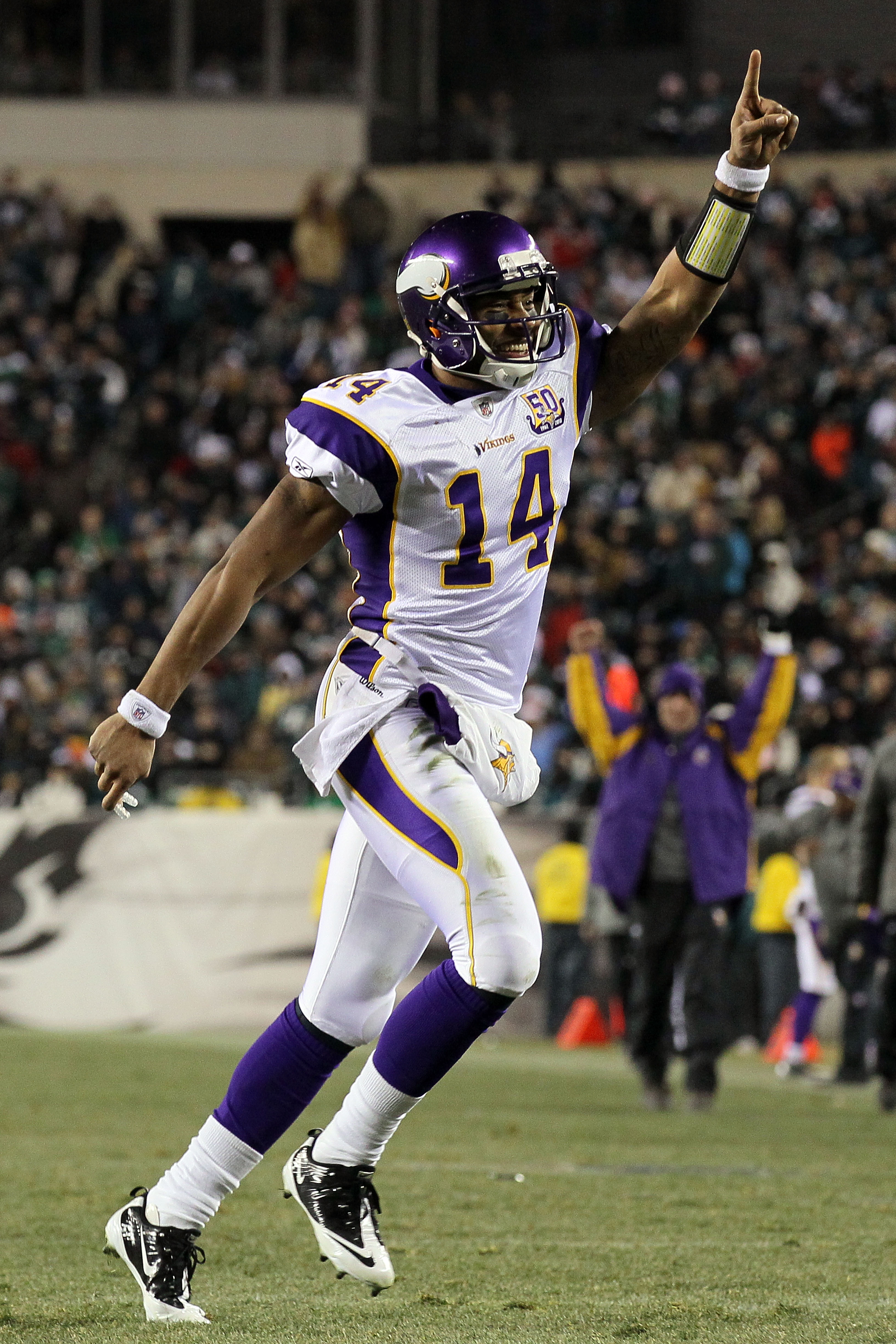 PHILADELPHIA, PA - DECEMBER 26:  Joe Webb #14 of the Minnesota Vikings celebrates after play against the Philadelphia Eagles at Lincoln Financial Field on December 26, 2010 in Philadelphia, Pennsylvania.  (Photo by Jim McIsaac/Getty Images)