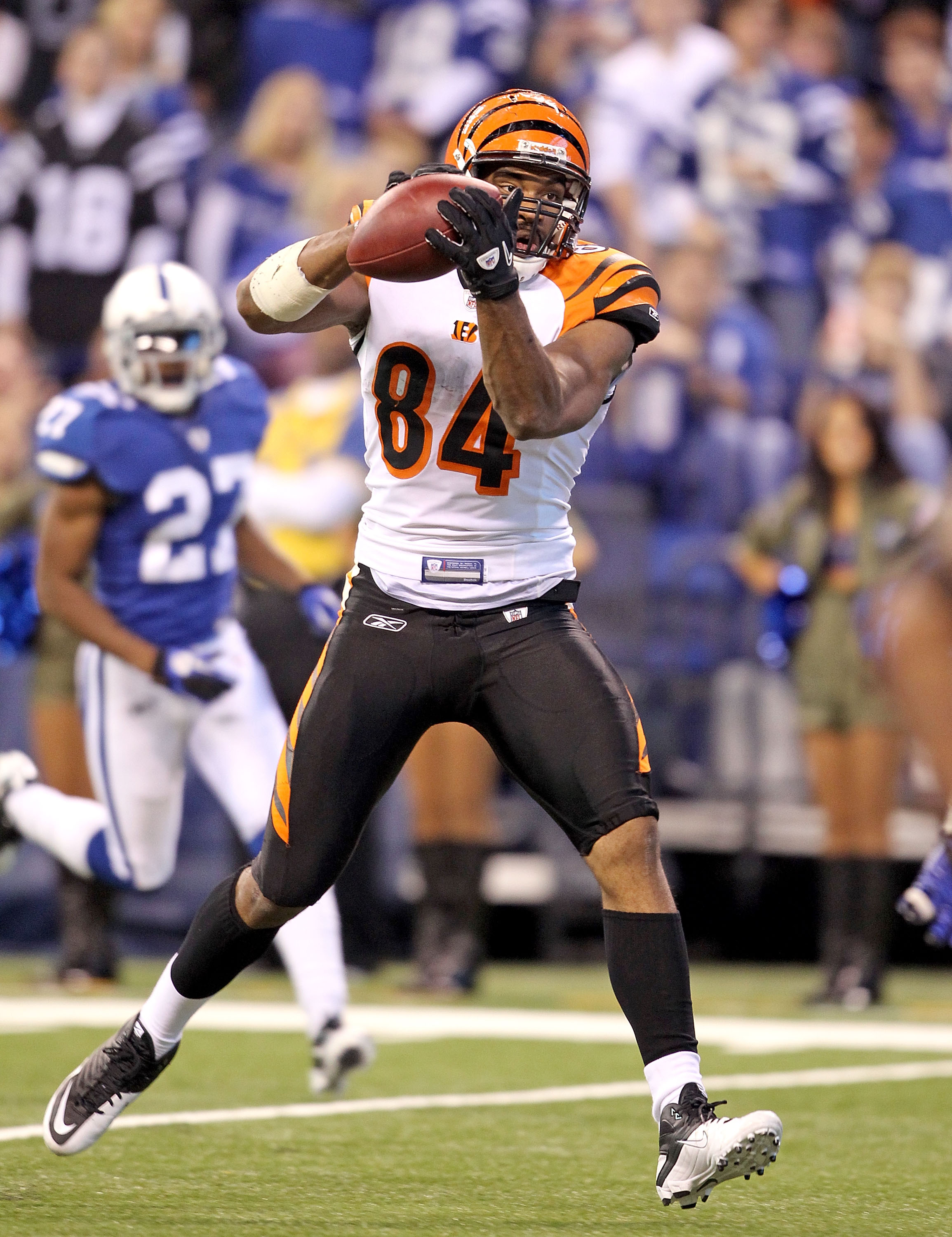 INDIANAPOLIS - NOVEMBER 14:  Jermaine Gresham #84 of the Cincinnati Bengals catches a pass for a touchdown during the Bengals 23-17 loss to the Indianapolis Colts in the NFL game at Lucas Oil Stadium on November 14, 2010 in Indianapolis, Indiana.  (Photo