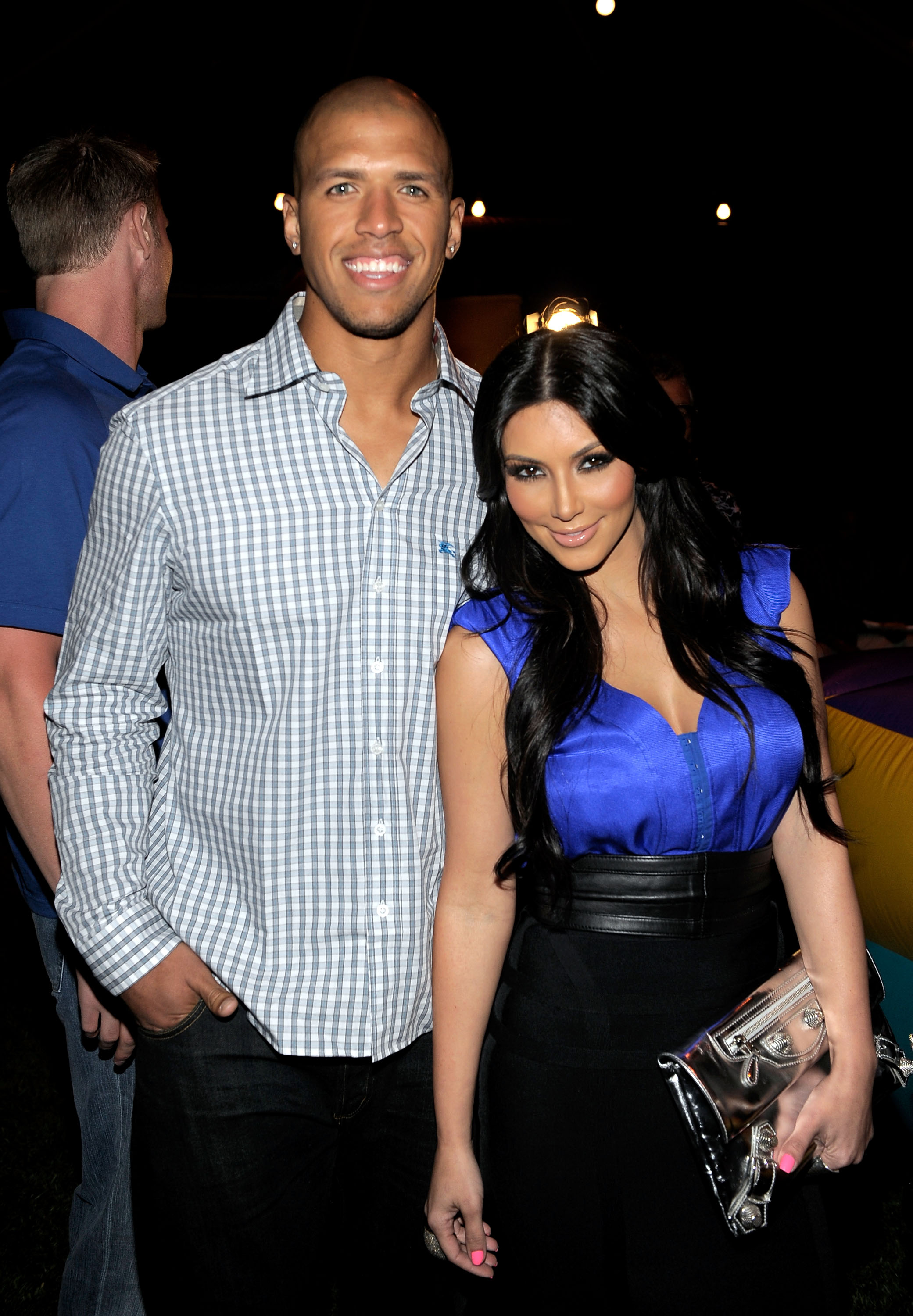 BEL AIR, CA - JULY 12:  Dallas Cowboys football player Miles Austin and actress Kim Kardashian attend professional tennis player Serena Williams' Pre-ESPYs House Party held at a private residence on July 12, 2010 in Bel Air, California.  (Photo by Charley