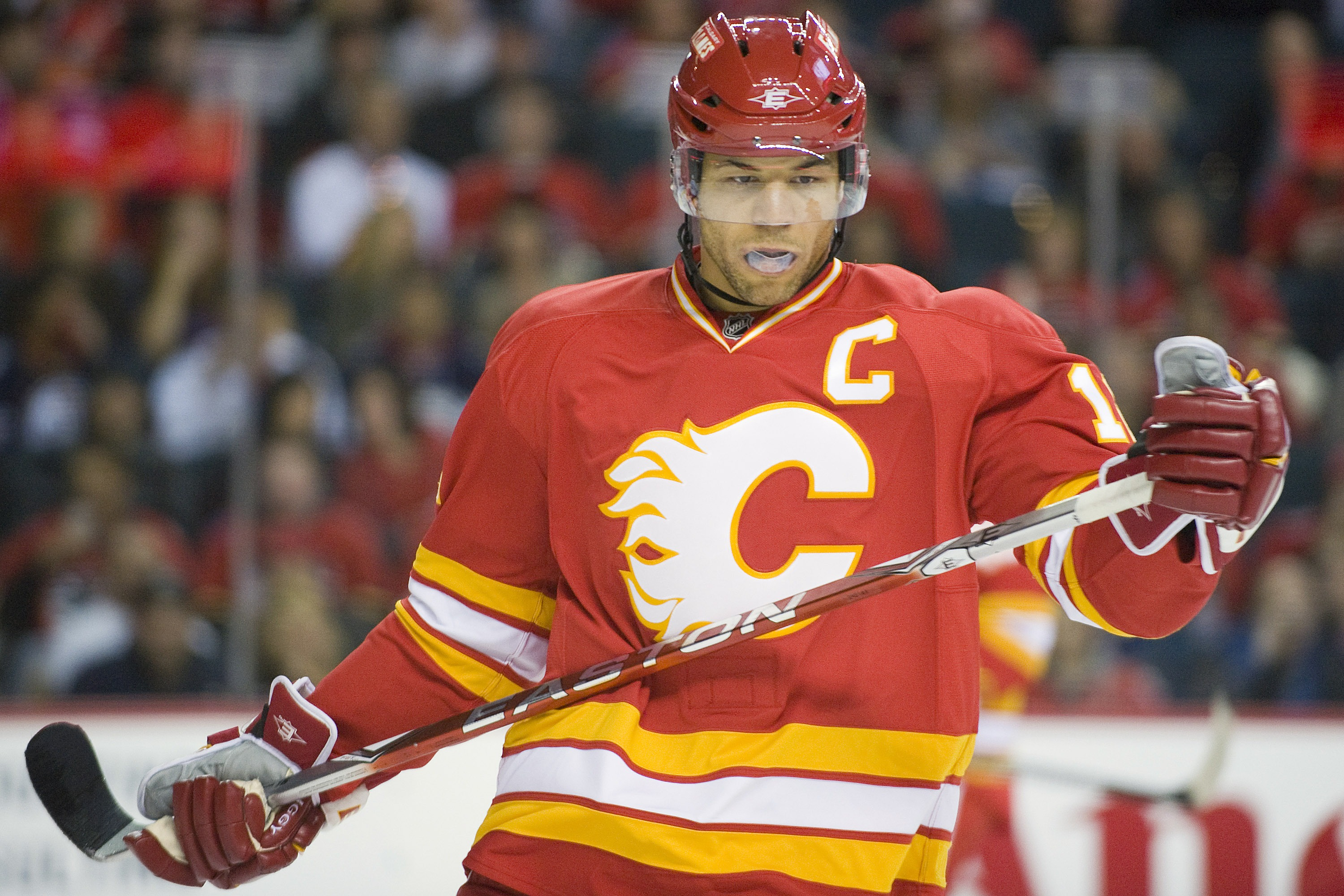 EDMONTON, CANADA - OCTOBER 16:  Calgary Flames right wing Jarome Iginla #12 takes a breather during a stoppage against the Edmonton Oilers at the Scotiabank Saddledome  on October 16, 2010 in Calgary, Alberta, Canada.  The Flames beat the Oilers 5-3.  (Ph