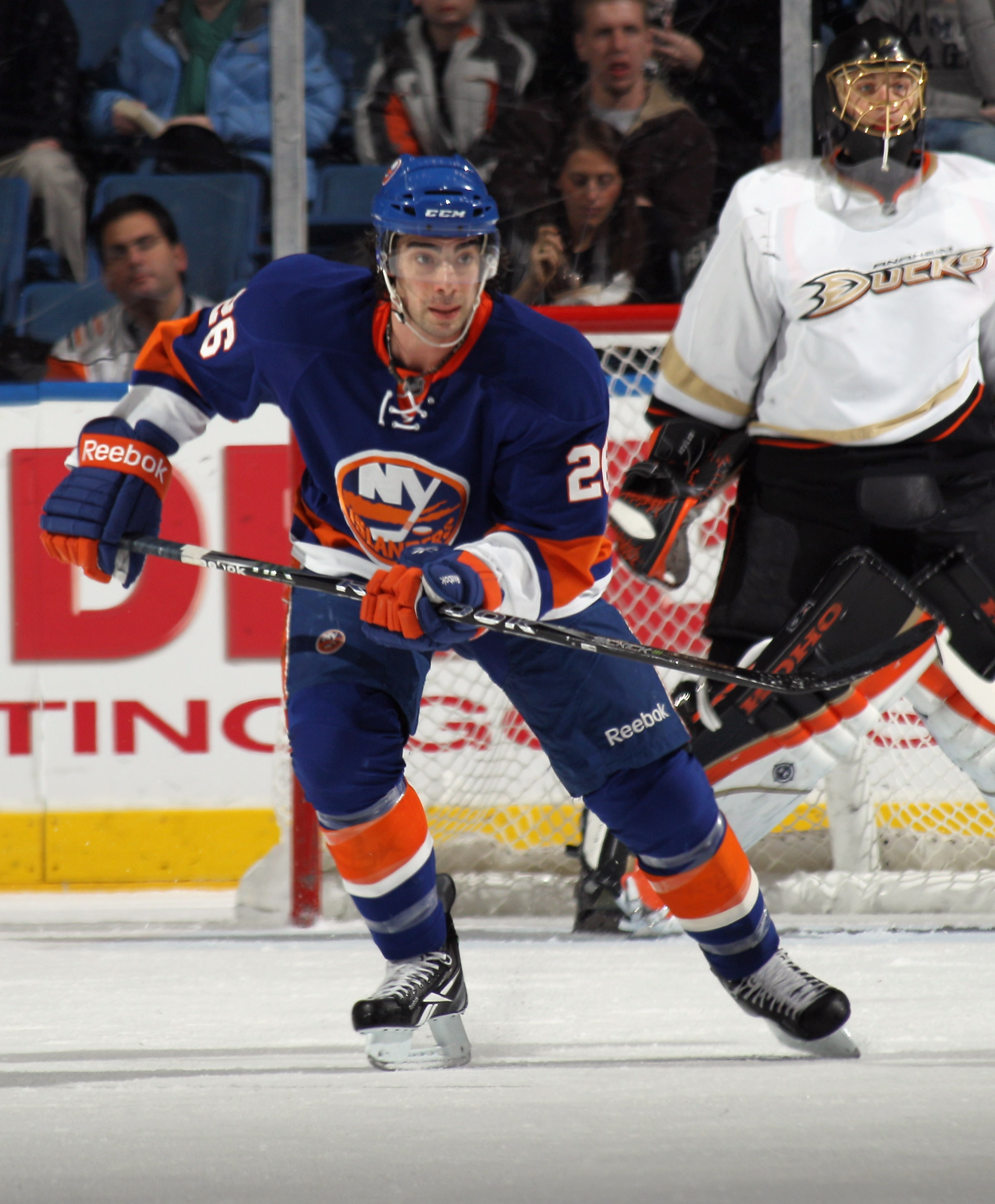 UNIONDALE, NY - DECEMBER 16: Matt Moulson #26 of the New York Islanders skates against the Anaheim Ducks at the Nassau Coliseum on December 16, 2010 in Uniondale, New York.  (Photo by Bruce Bennett/Getty Images)