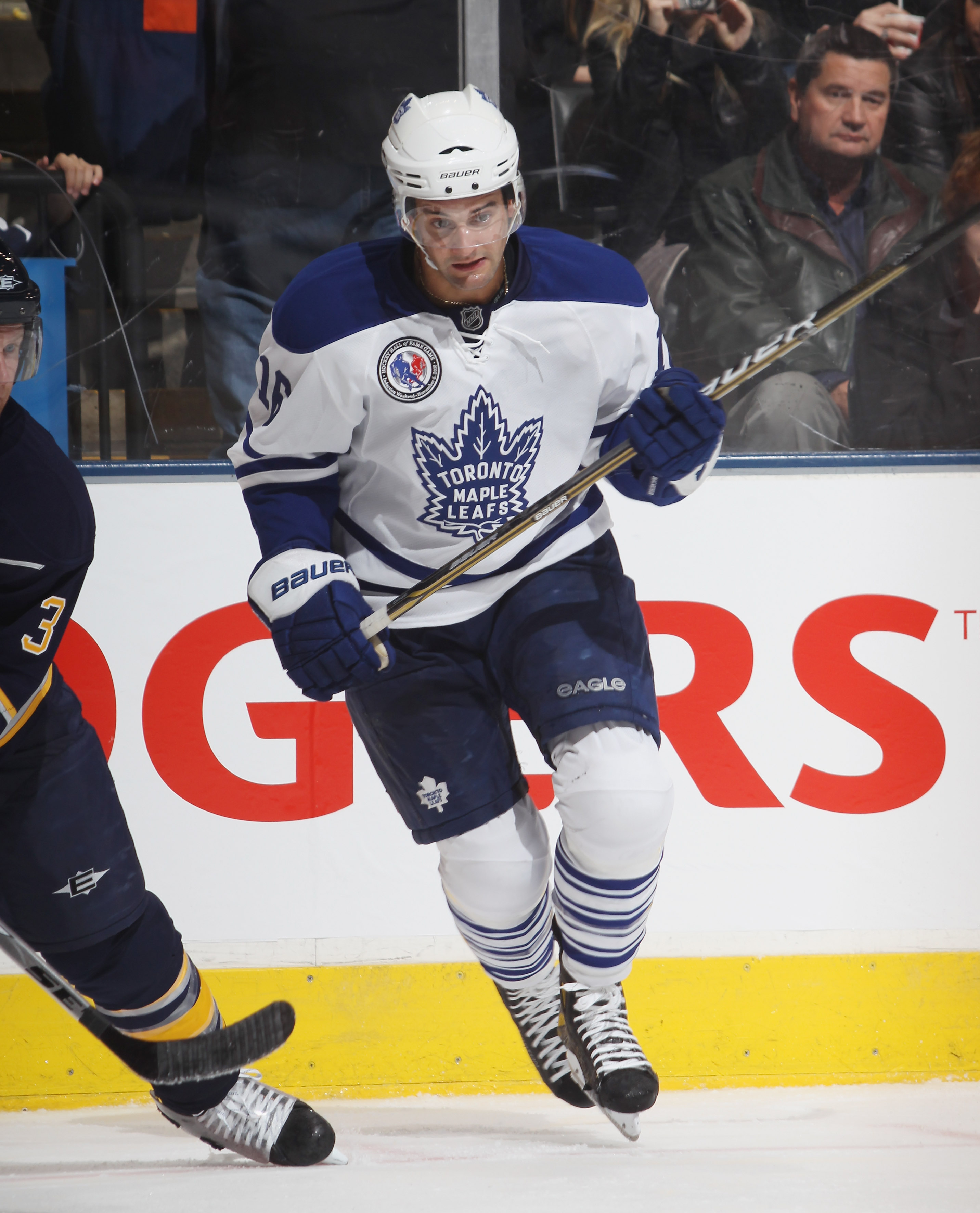 TORONTO, ON - NOVEMBER 06:  Clarke MacArthur #16 of the Toronto Maple Leafs skates against the Buffalo Sabres at the Air Canada Centre on November 6, 2010 in Toronto, Canada. The Sabres defeated the Maple Leafs 3-2.  (Photo by Bruce Bennett/Getty Images)