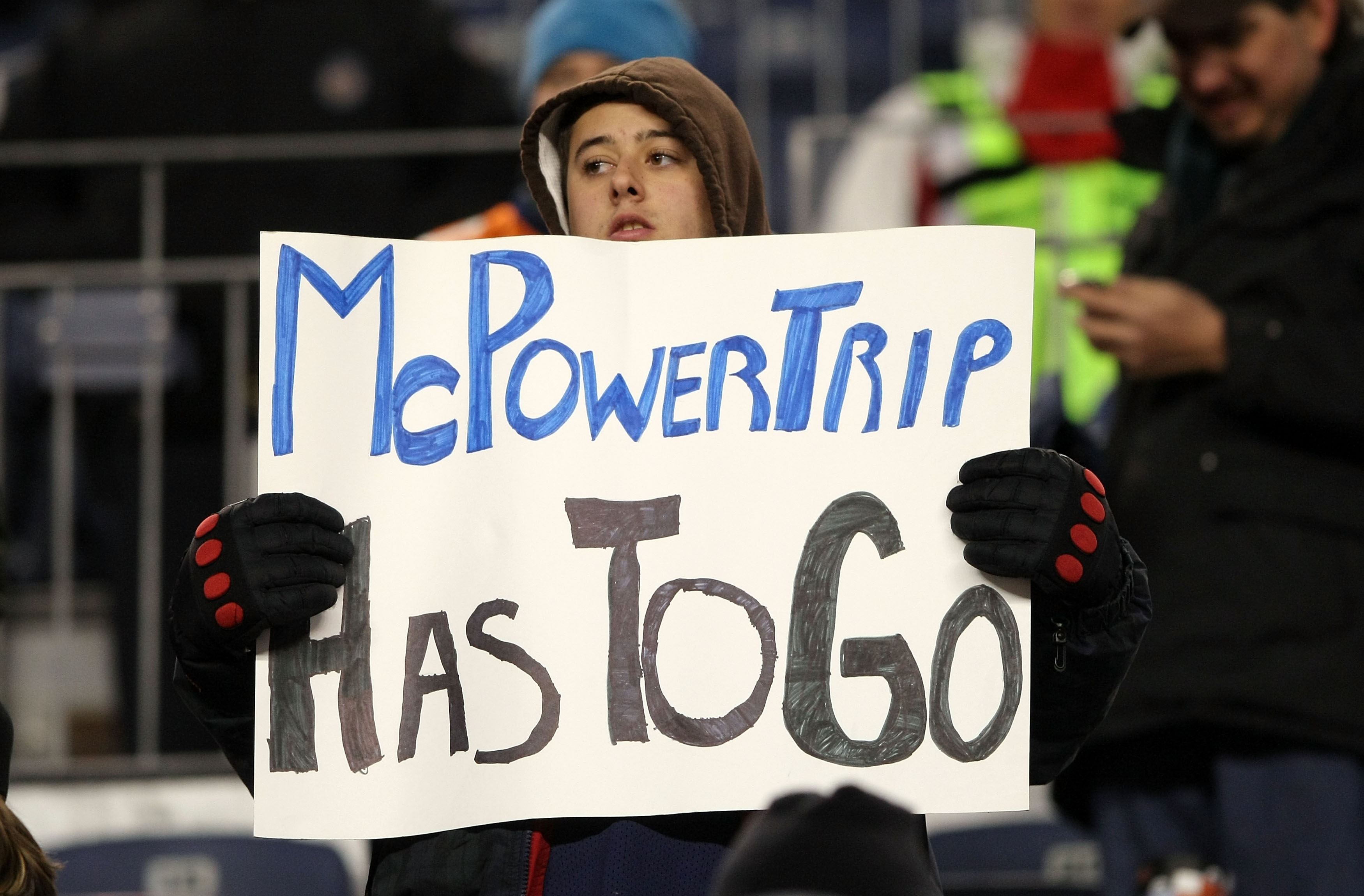 DENVER - JANUARY 03: A Broncos fan holds a sign expressing his sentiments about head coach Josh McDaniels of the Denver Broncos as the Broncos were defeated by the Kansas City Chiefs during NFL action at Invesco Field at Mile High on January 3, 2010 in De