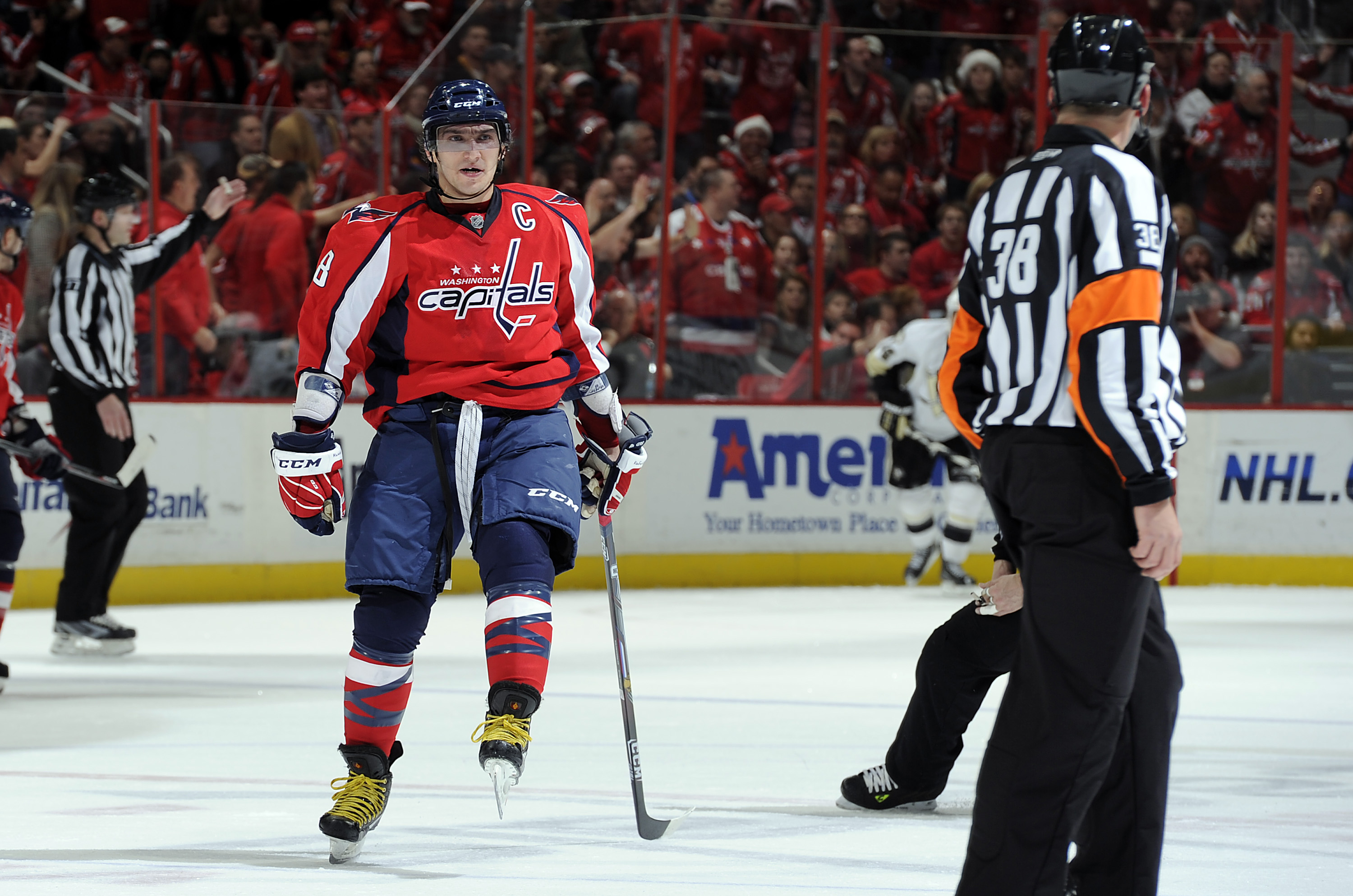 WASHINGTON, DC - DECEMBER 23:  Alex Ovechkin #8 of the Washington Capitals yells at an official after being called for a penalty during the game against the Pittsburgh Penguins at the Verizon Center on December 23, 2010 in Washington DC. The Penguins won