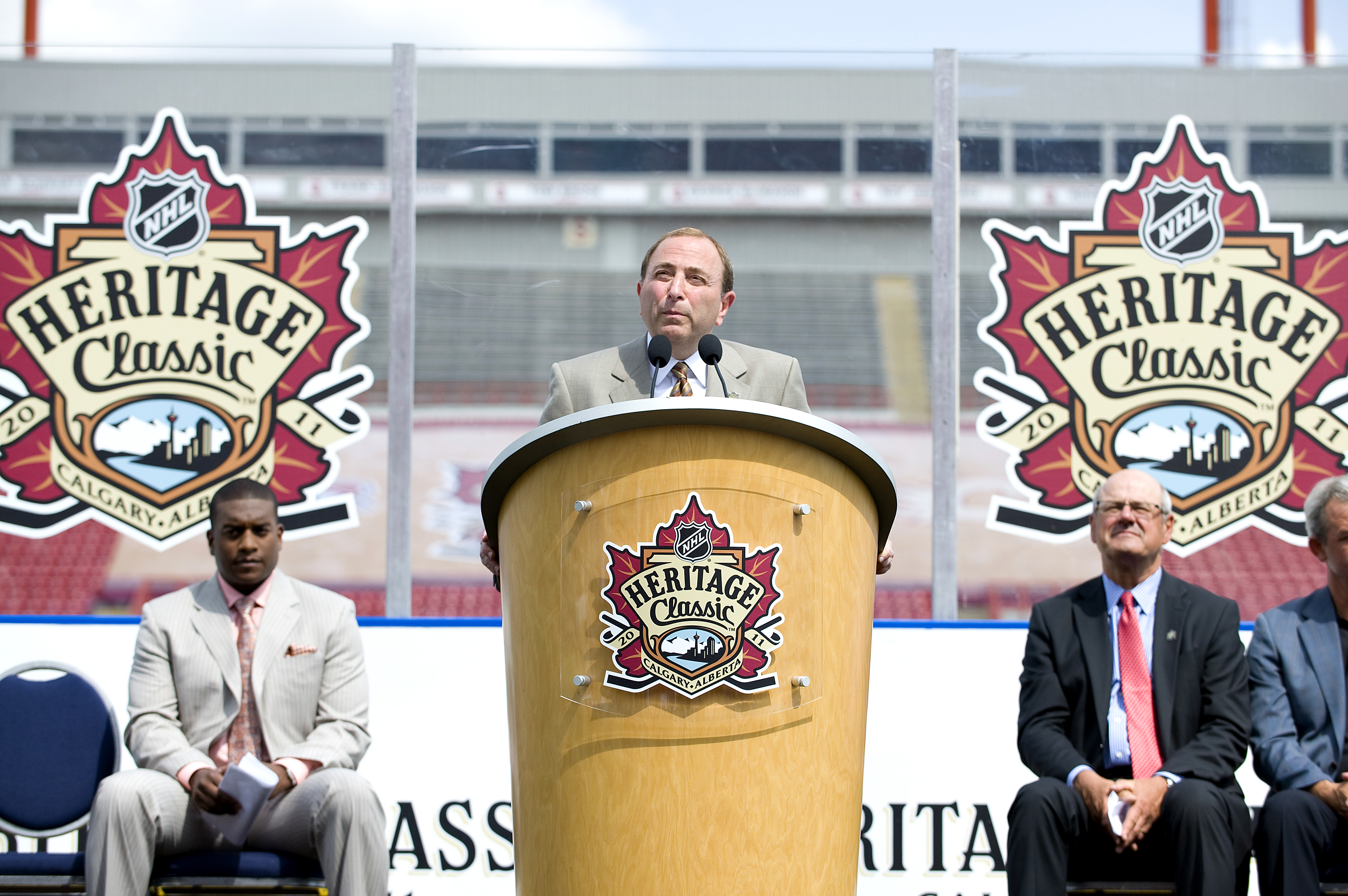 CALGARY, AB, CANADA - AUGUST 4:  NHL Commissioner Gary Bettman addresses the media at the NHL Heritage Classic Press Conference at McMahon Stadium on August 4, 2010 in Calgary, Alberta, Canada.  (Photo by Dylan Lynch/Getty Images)